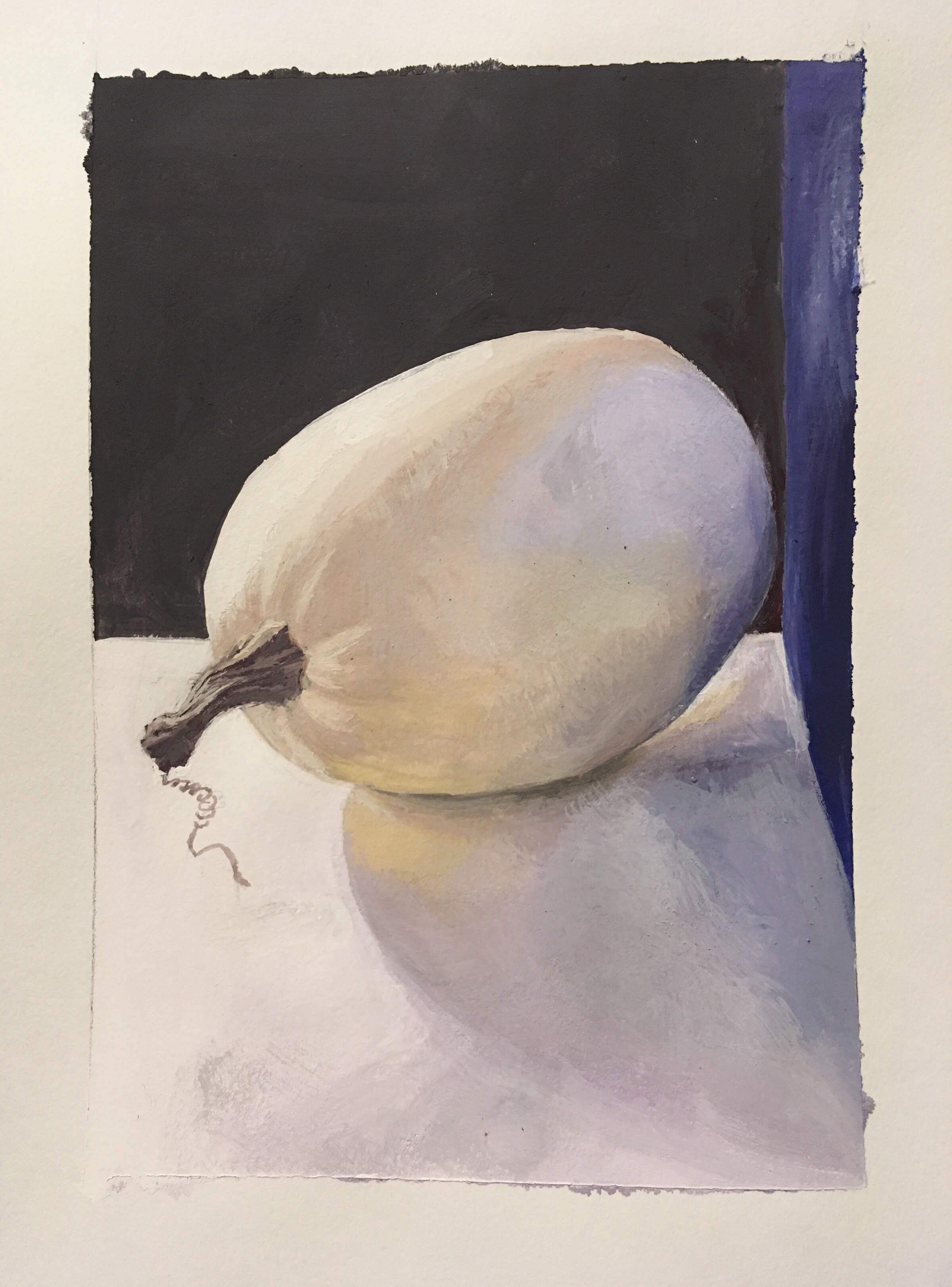 still-life traditional painting of a white gourd lying on its side