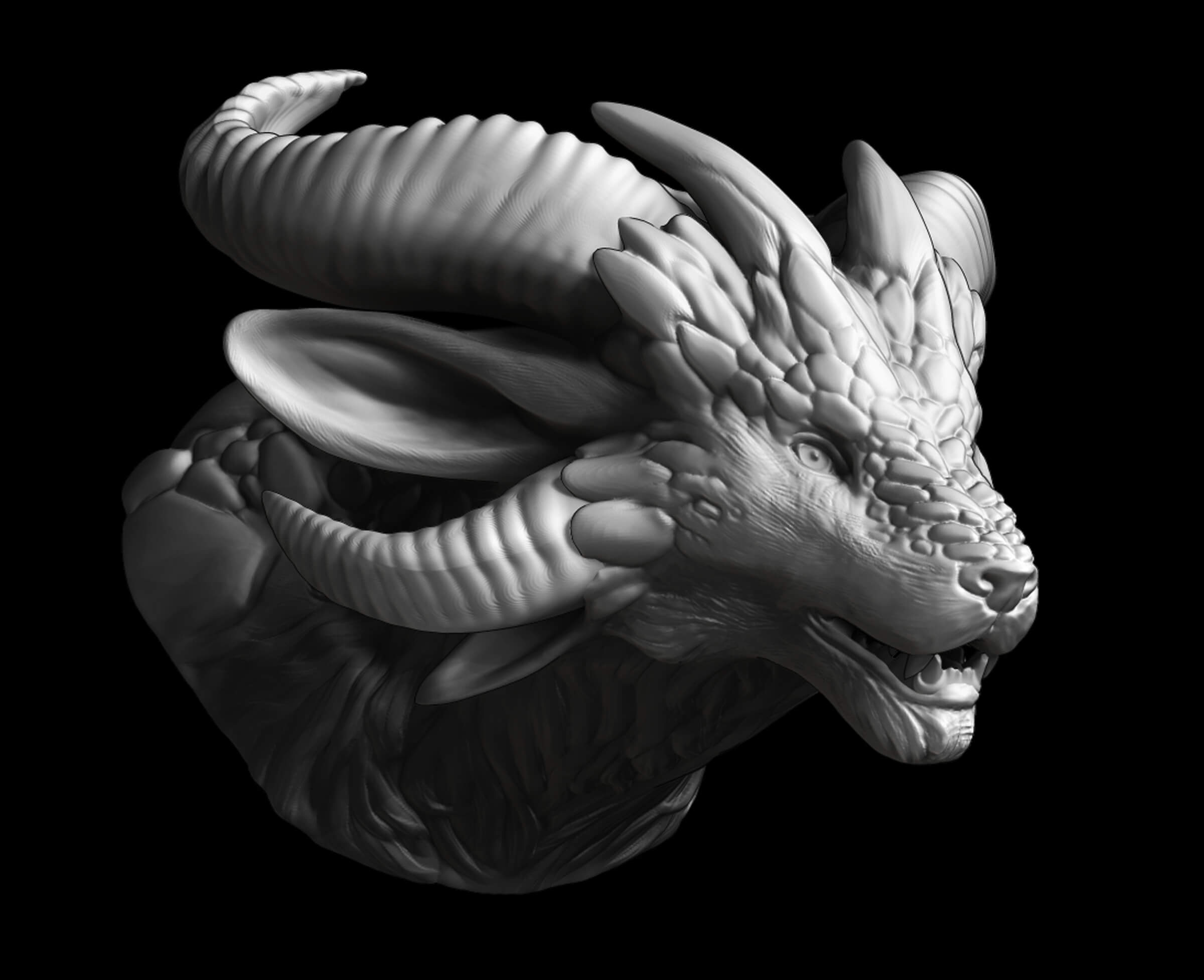 computer-generated 3D model of a creature with a lion's face and various horns extending from its head