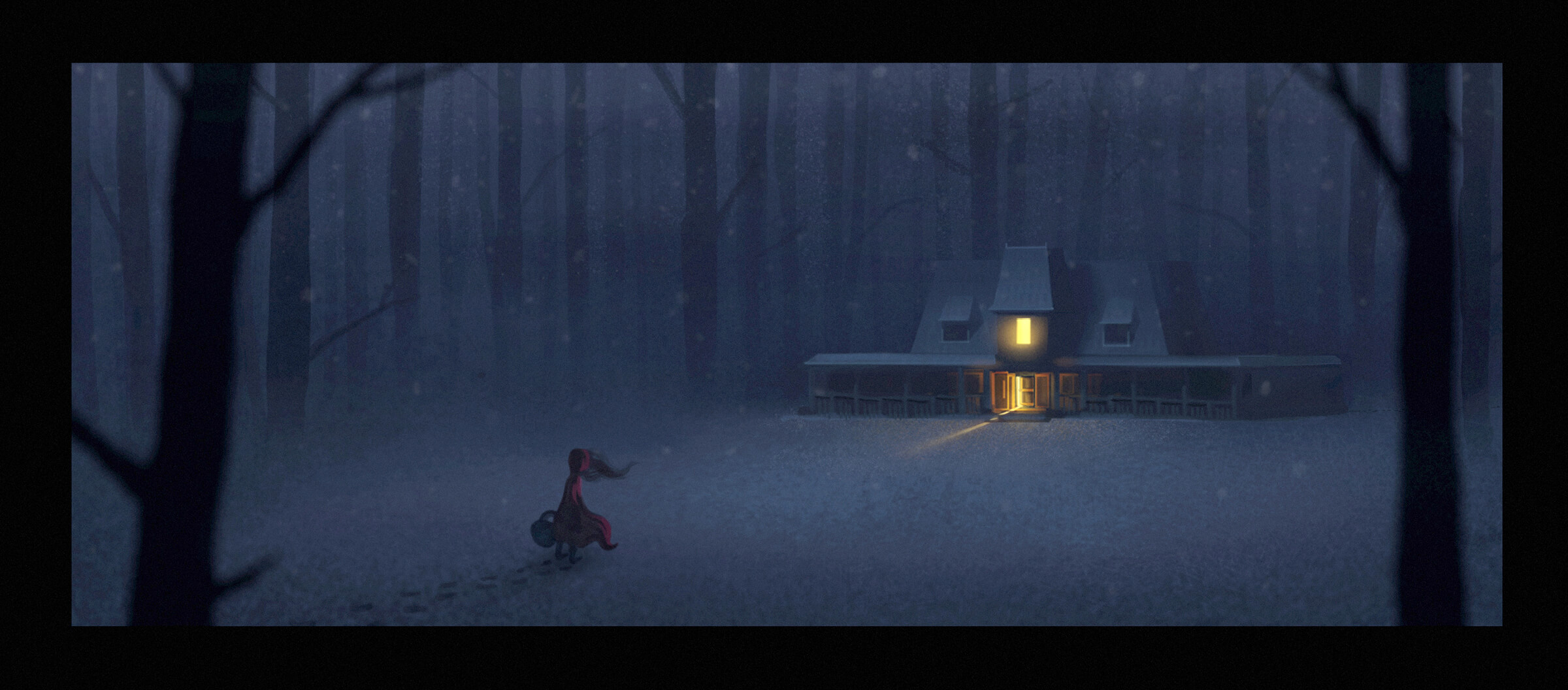 A woman in red approaches a house with an open door on a snowy evening