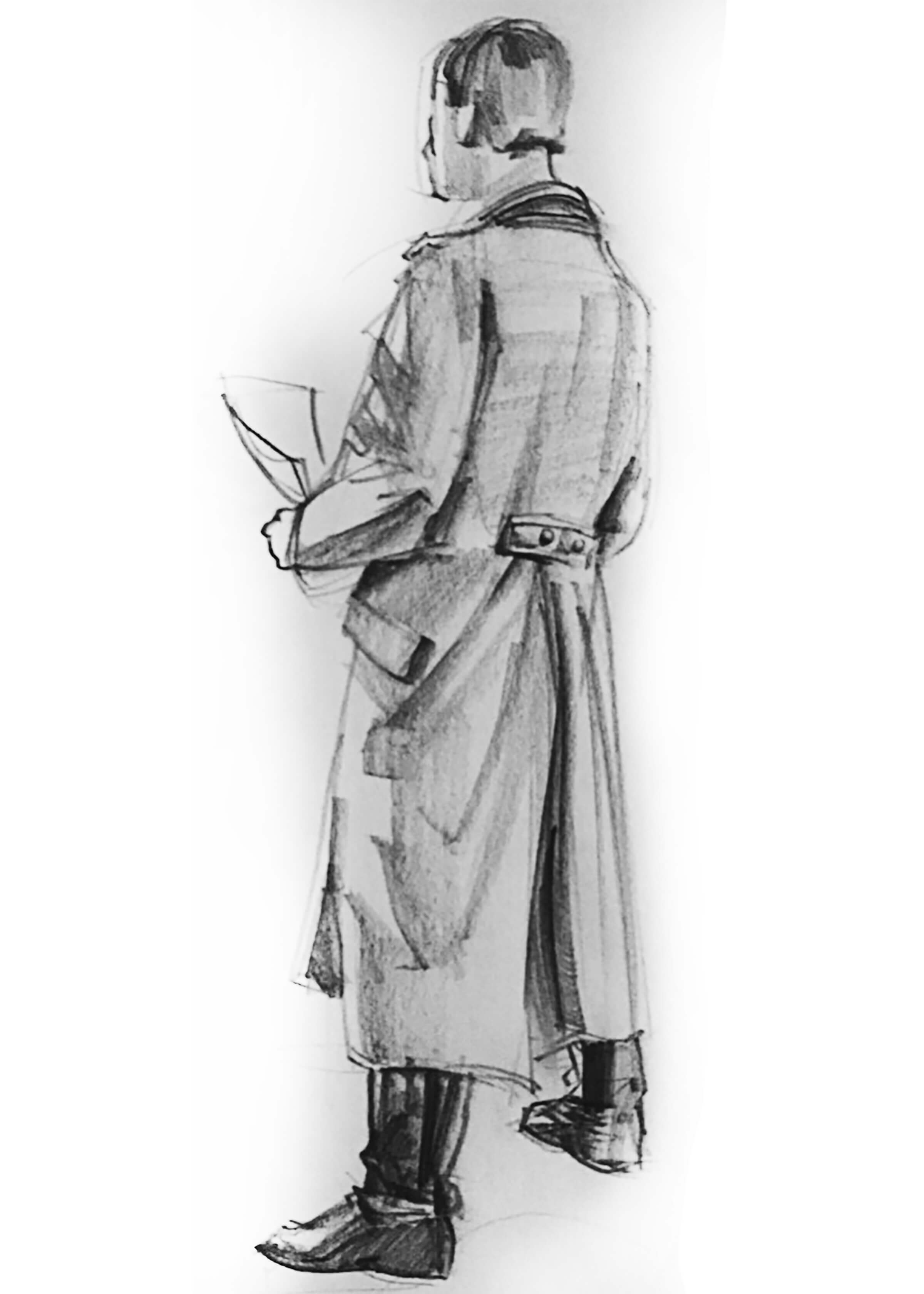 A sketch of a man in a raincoat with his back to the artist