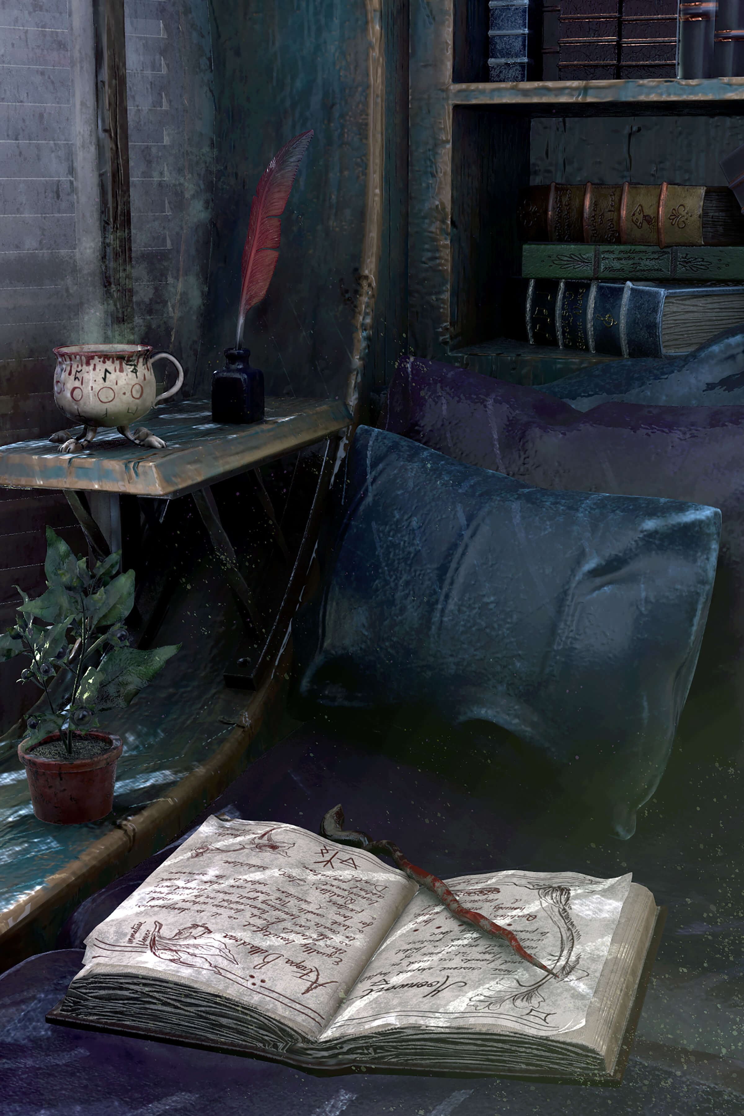 A spot for reading with pillows, a book, an ink well, and quill.