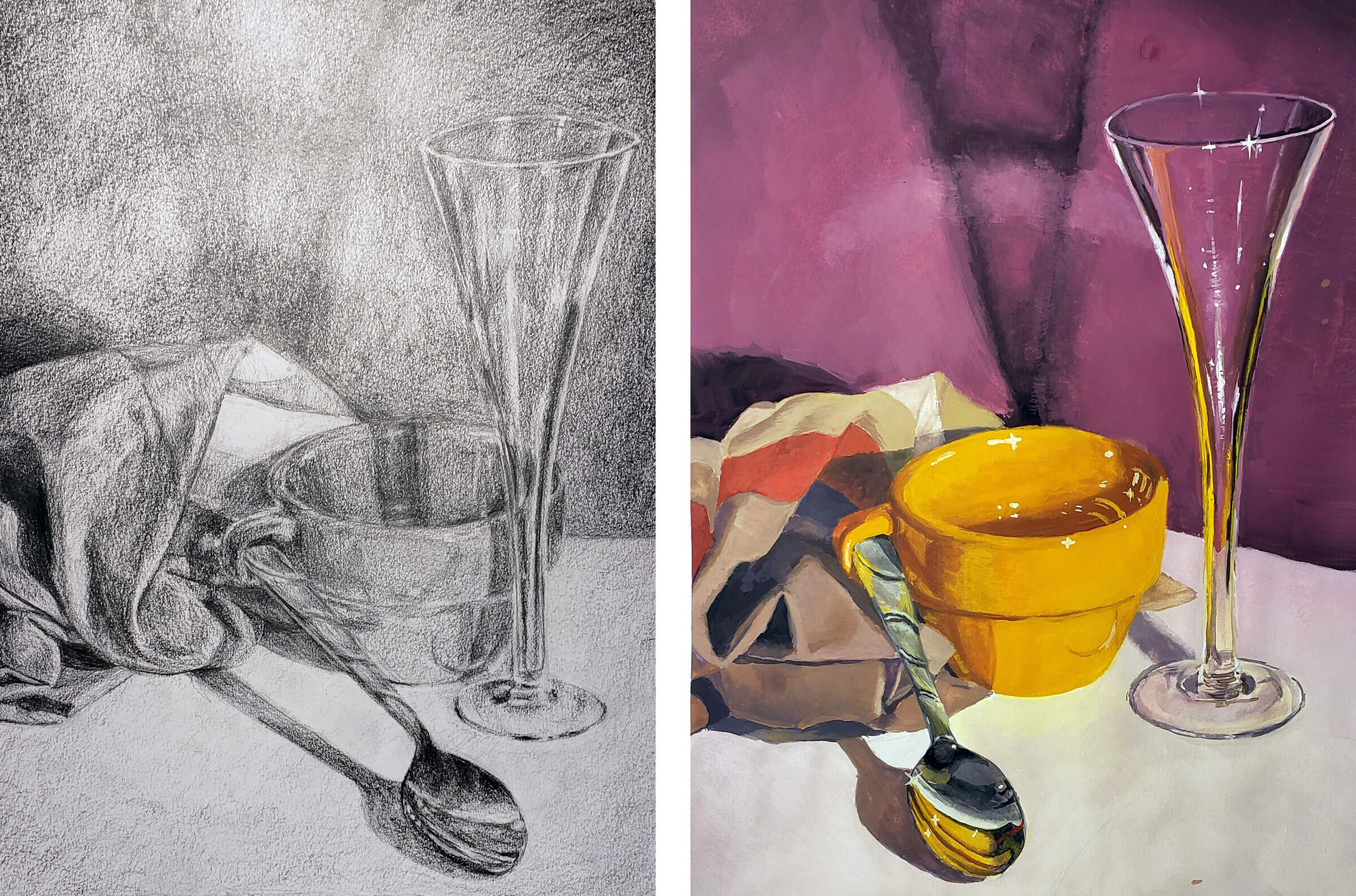 Still-life with mug, spoon, and glass, in black and white and color
