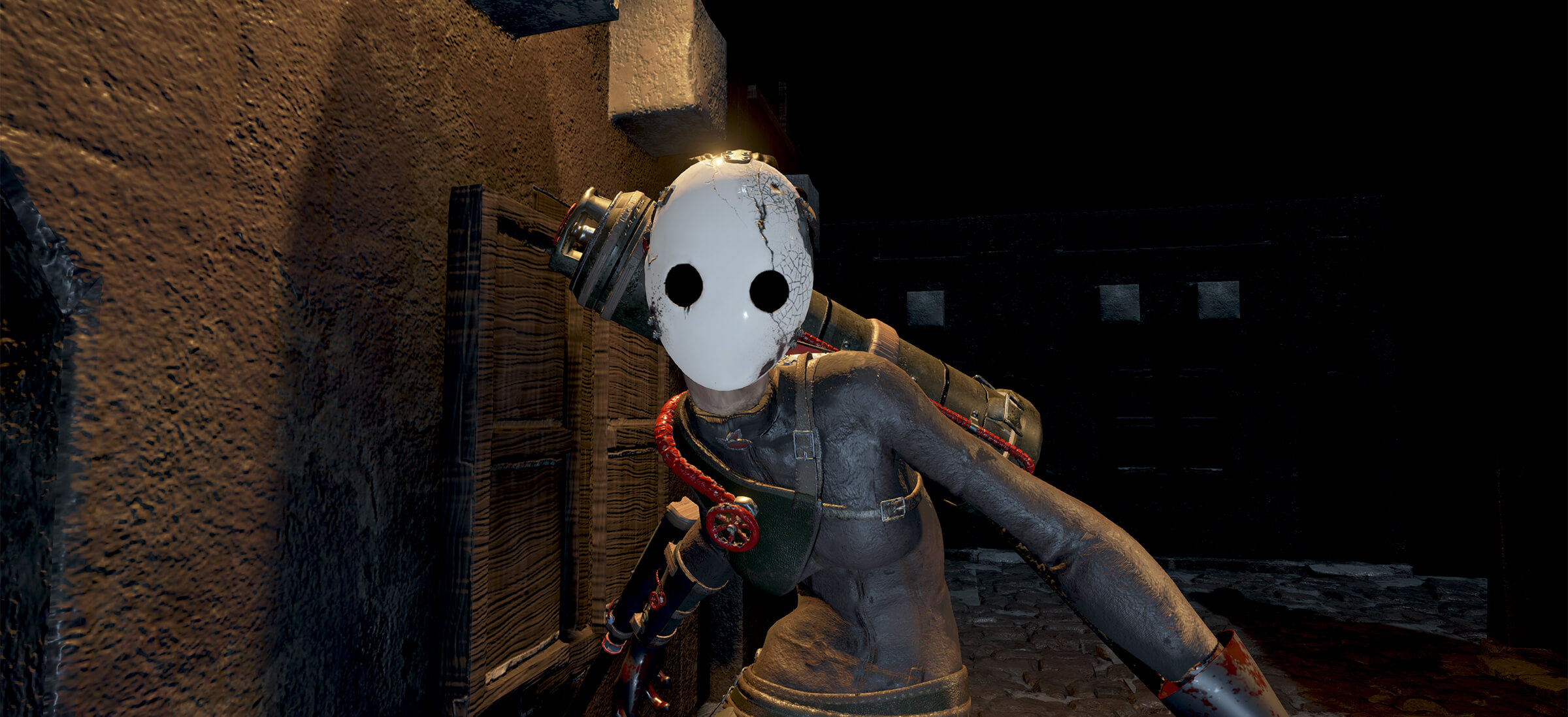 computer-generated 3D environment featuring a character with a shiny, egg-like mask in a dark alley