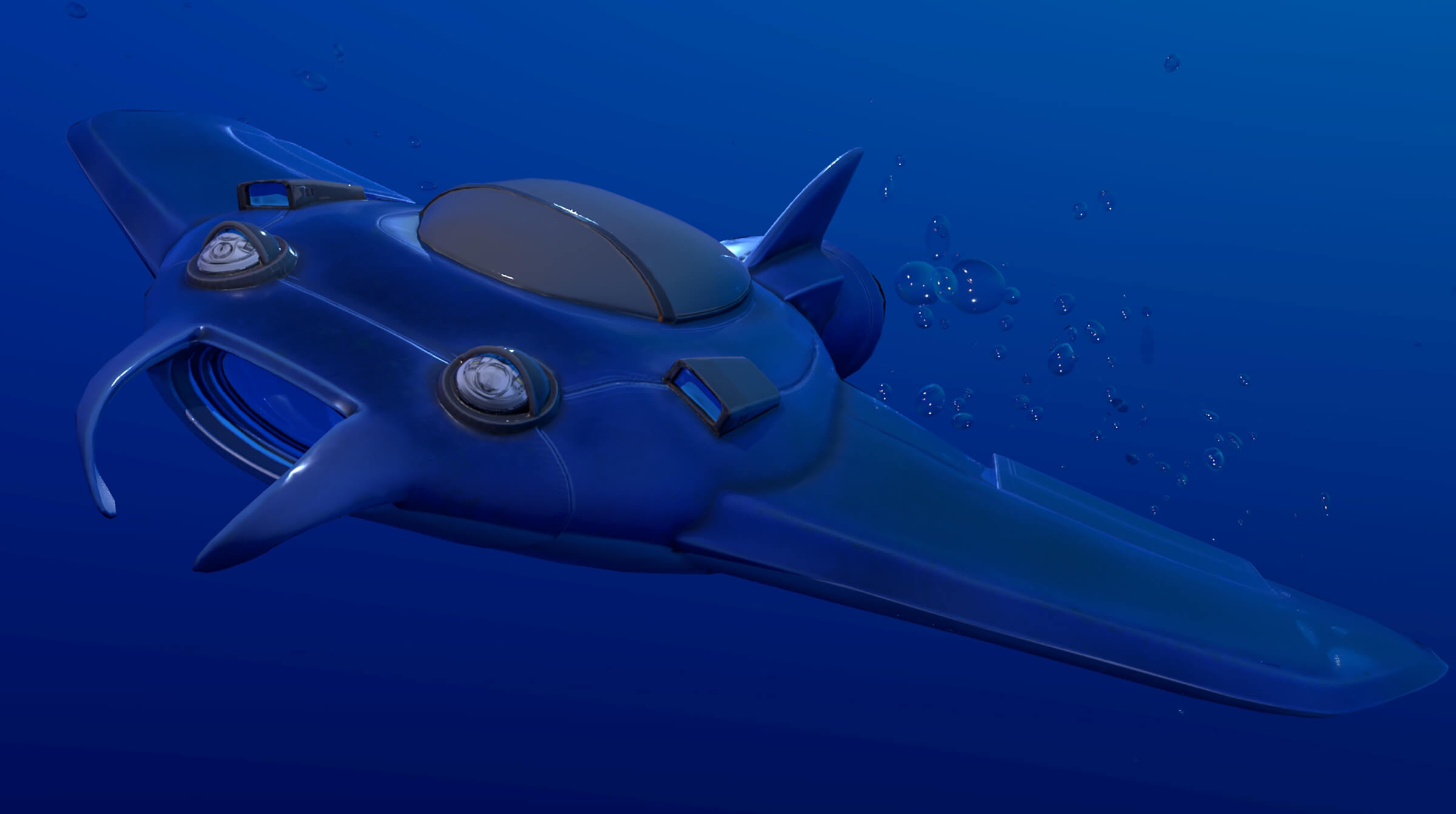 A disc-shaped underwater craft with wings and a fin