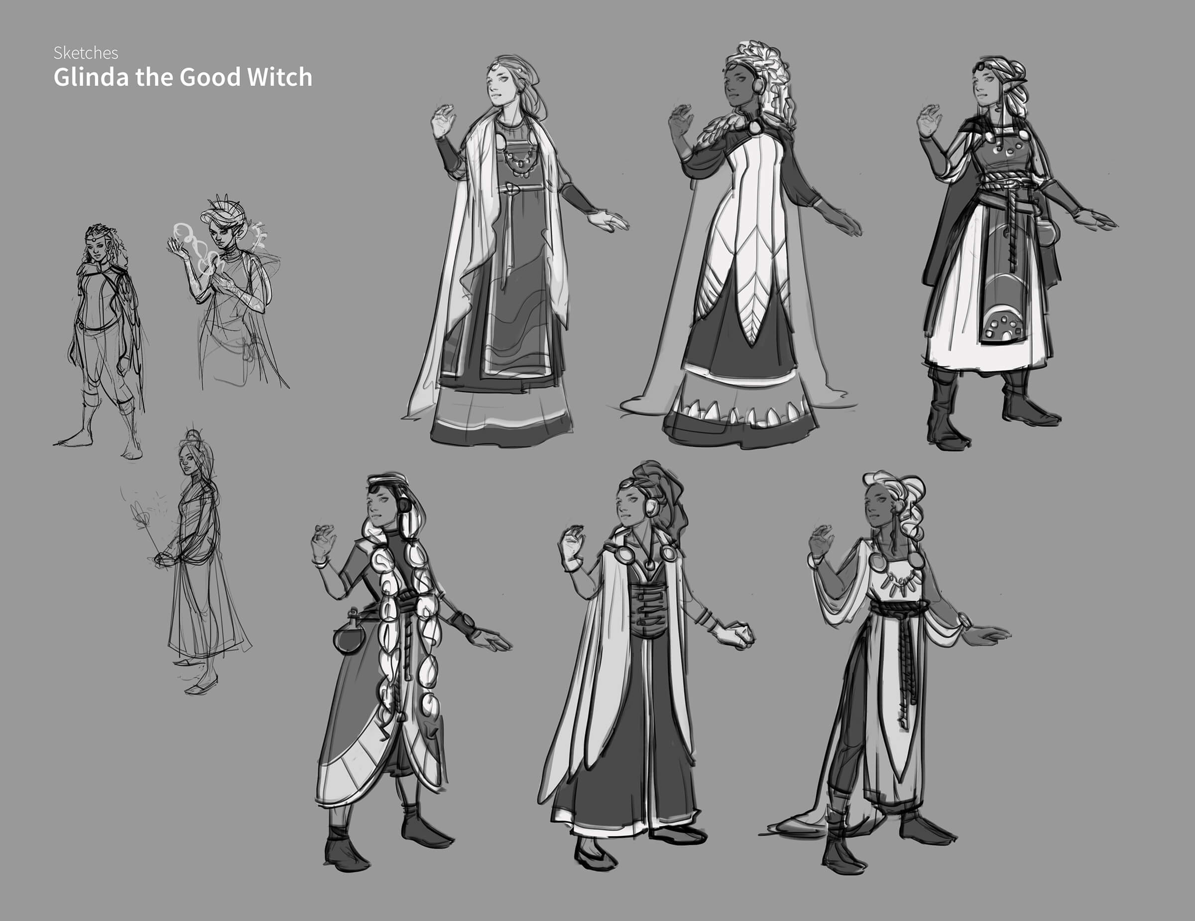 A character named Glinda the Good Witch in various costumes