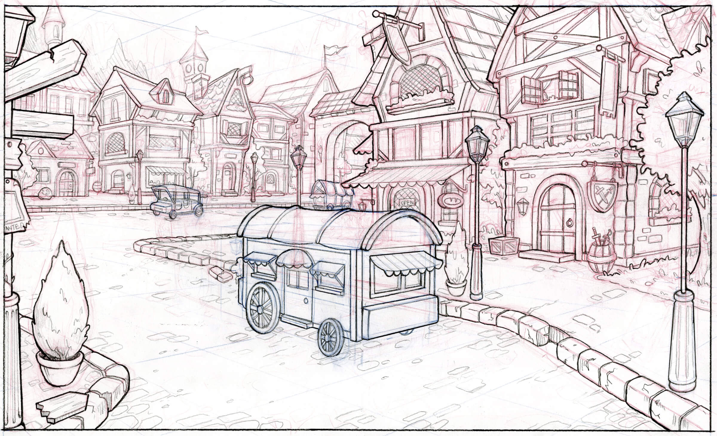 perspective drawing of a European-inspired village street