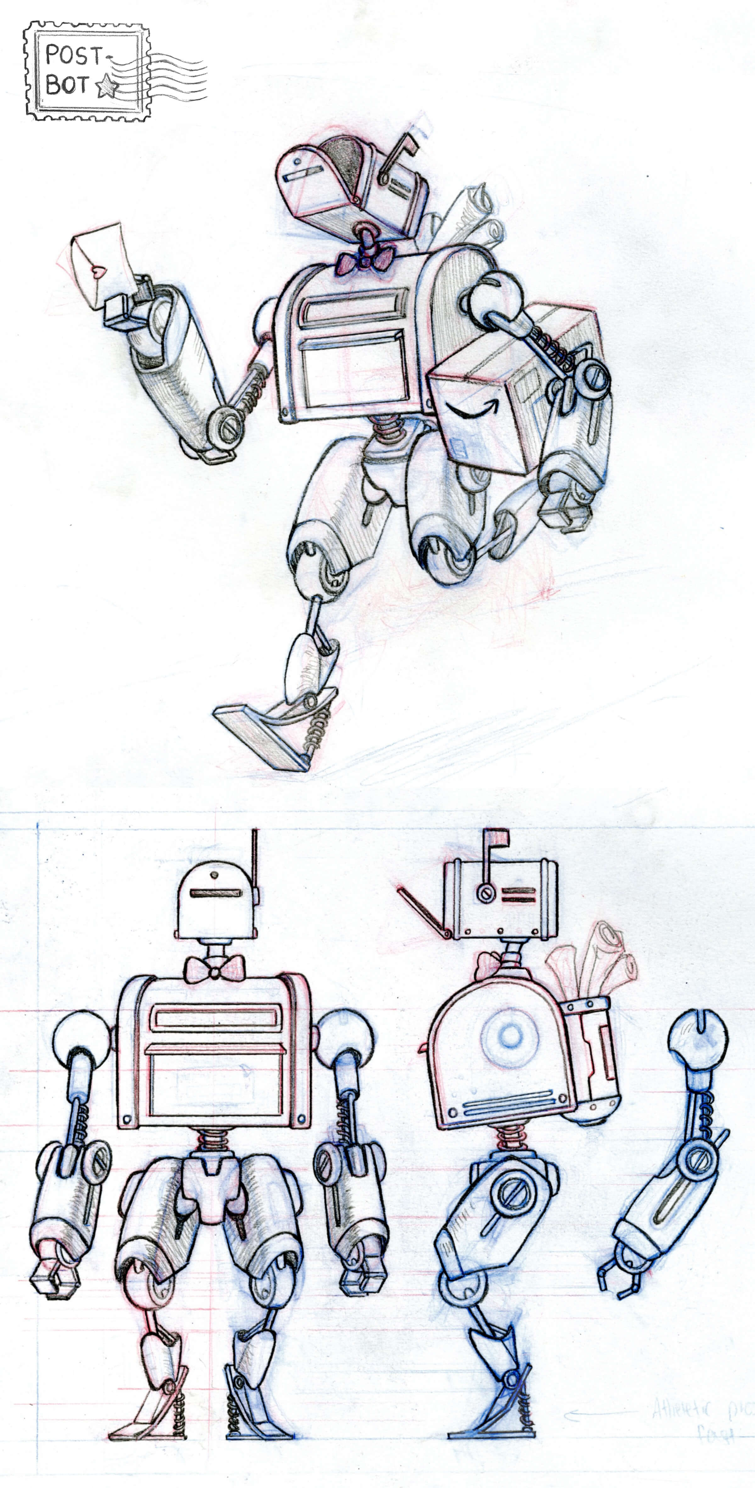 drawing of a robot called post-bot carrying an Amazon box and with a mailbox for a head