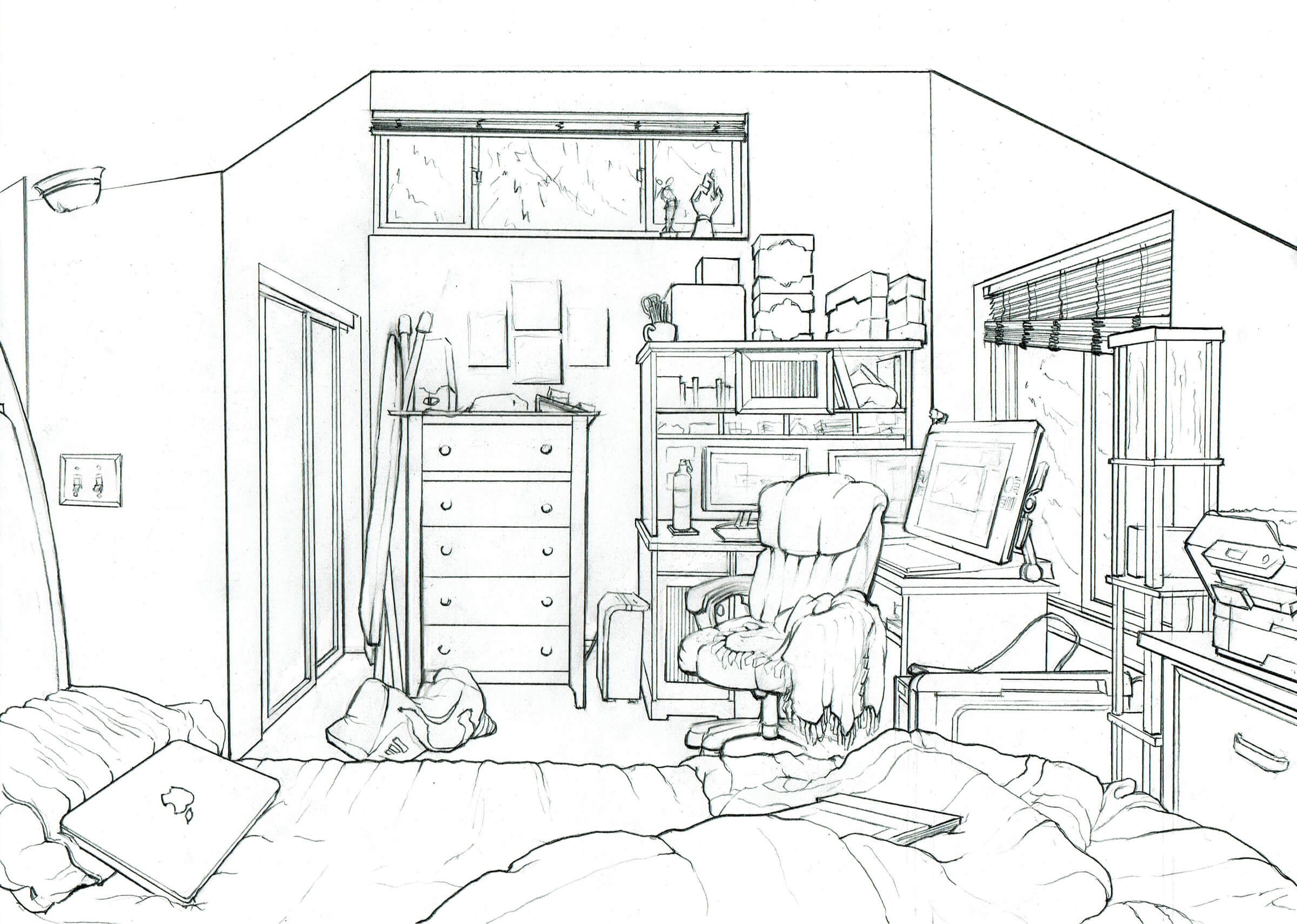black and white persepctive drawing of a cozy bedroom with a dresser, desk with 3 computer monitors and unmade bed