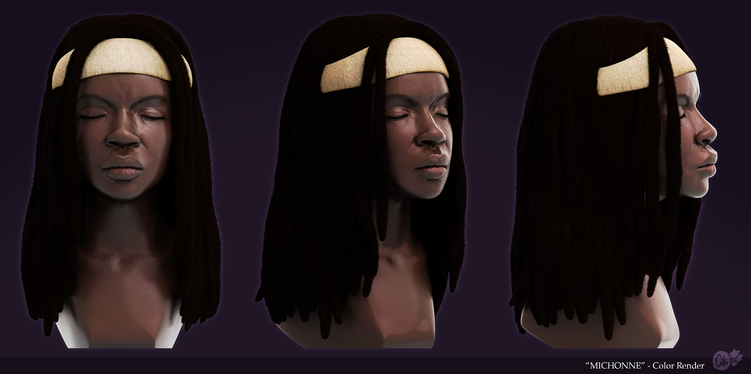 Three angles of a woman with dreadlocks and a white headband