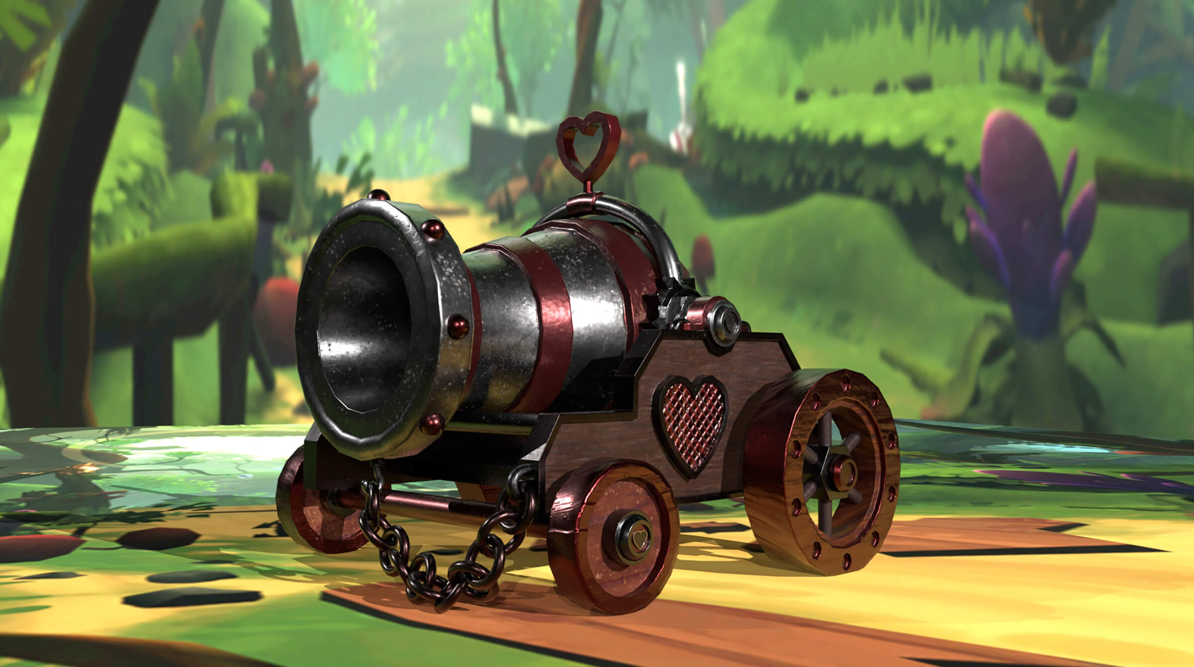A cannon with a heart on its side in a cartoon world