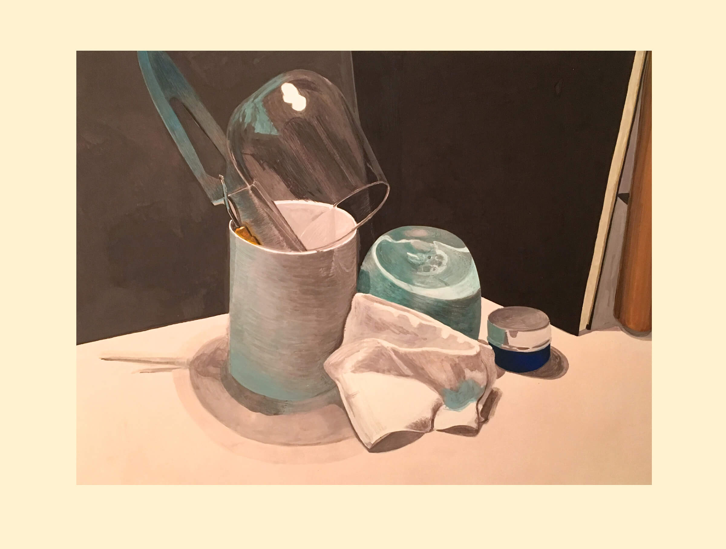 still-life traditional painting of a knife and glass in a cylindrical container