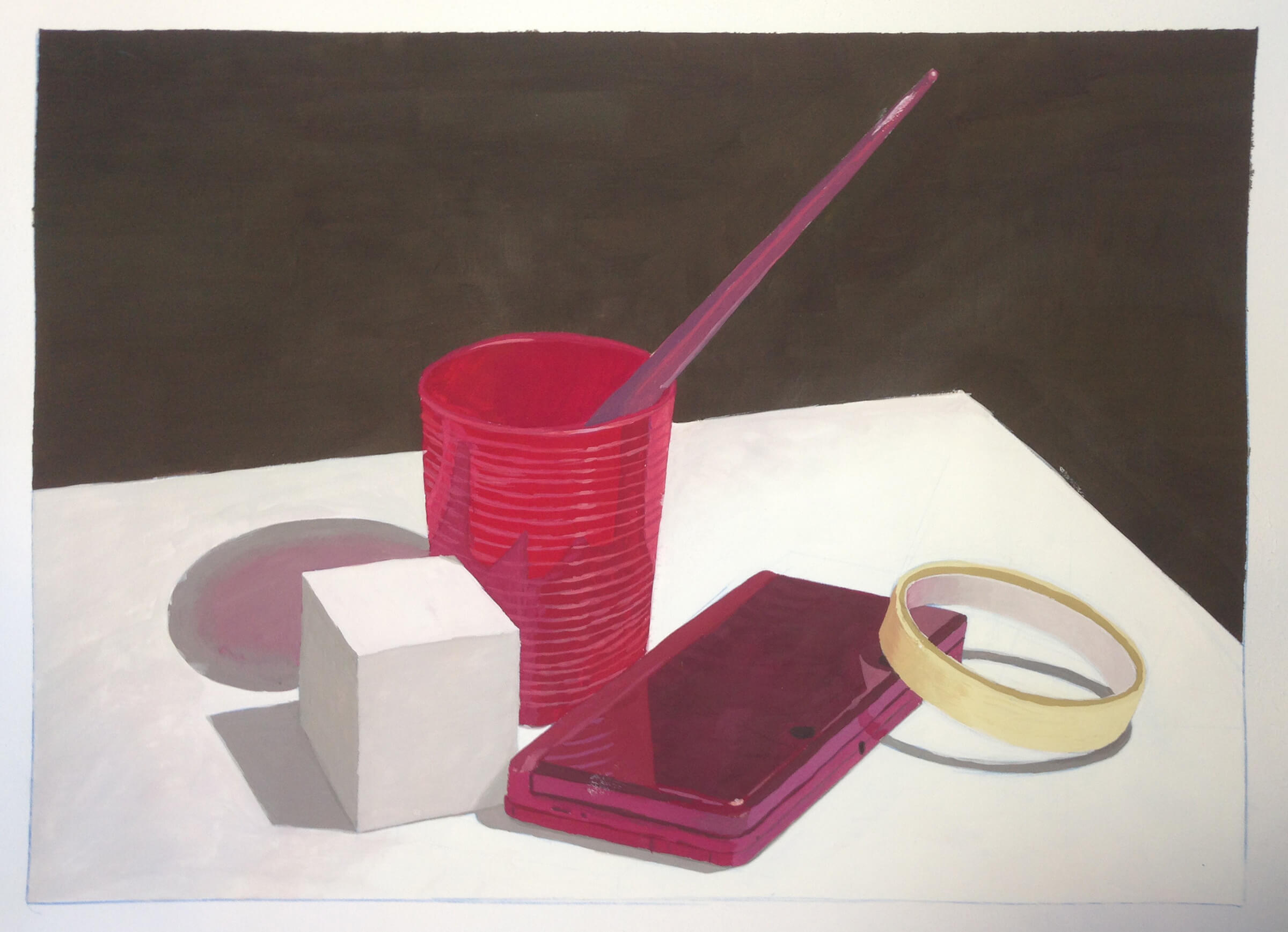 still-life traditional painting of a paintbrush in a red mug, white cube and nearly-finished roll of tape