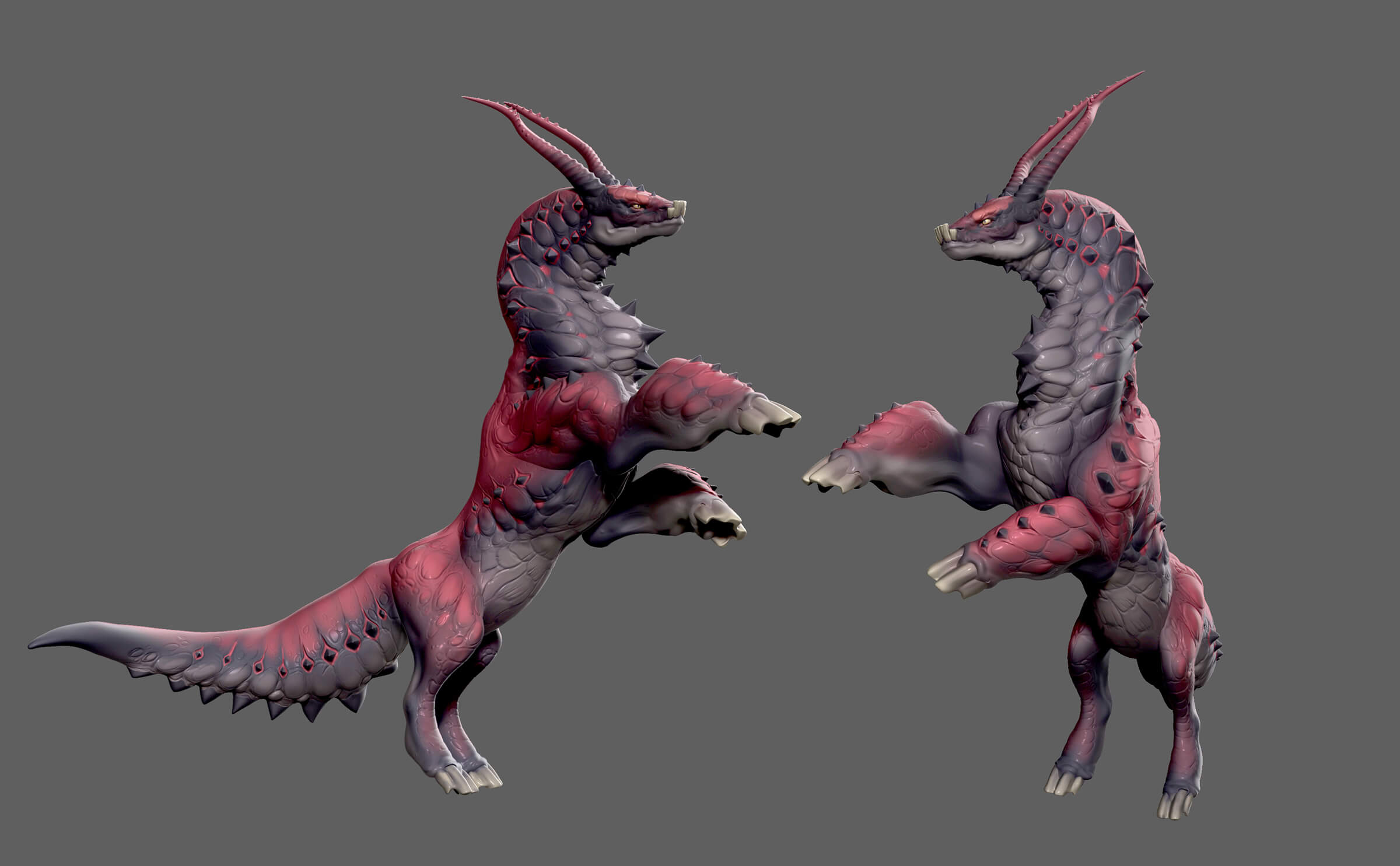 Two angles of a dragon-like creature standing on its hind legs