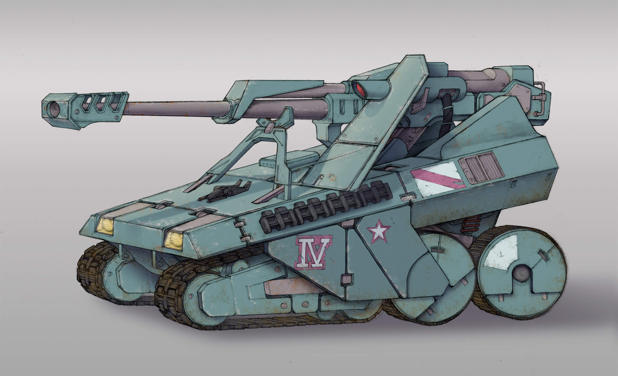 A sturdy military tank with a large gun and IV printed on the side