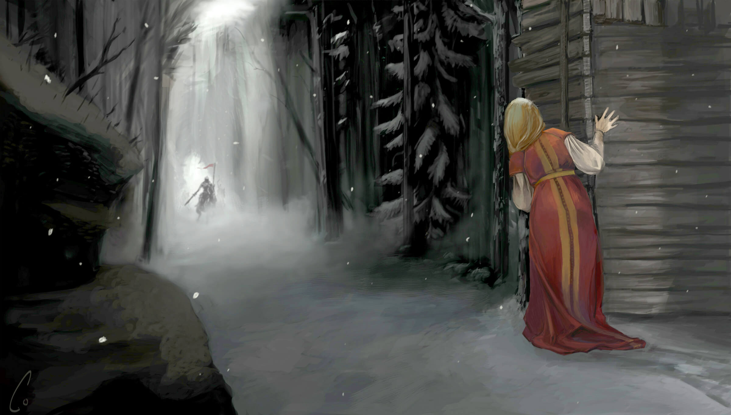 digital painting of a blonde female character peering through the trees at an approaching knight on a horse