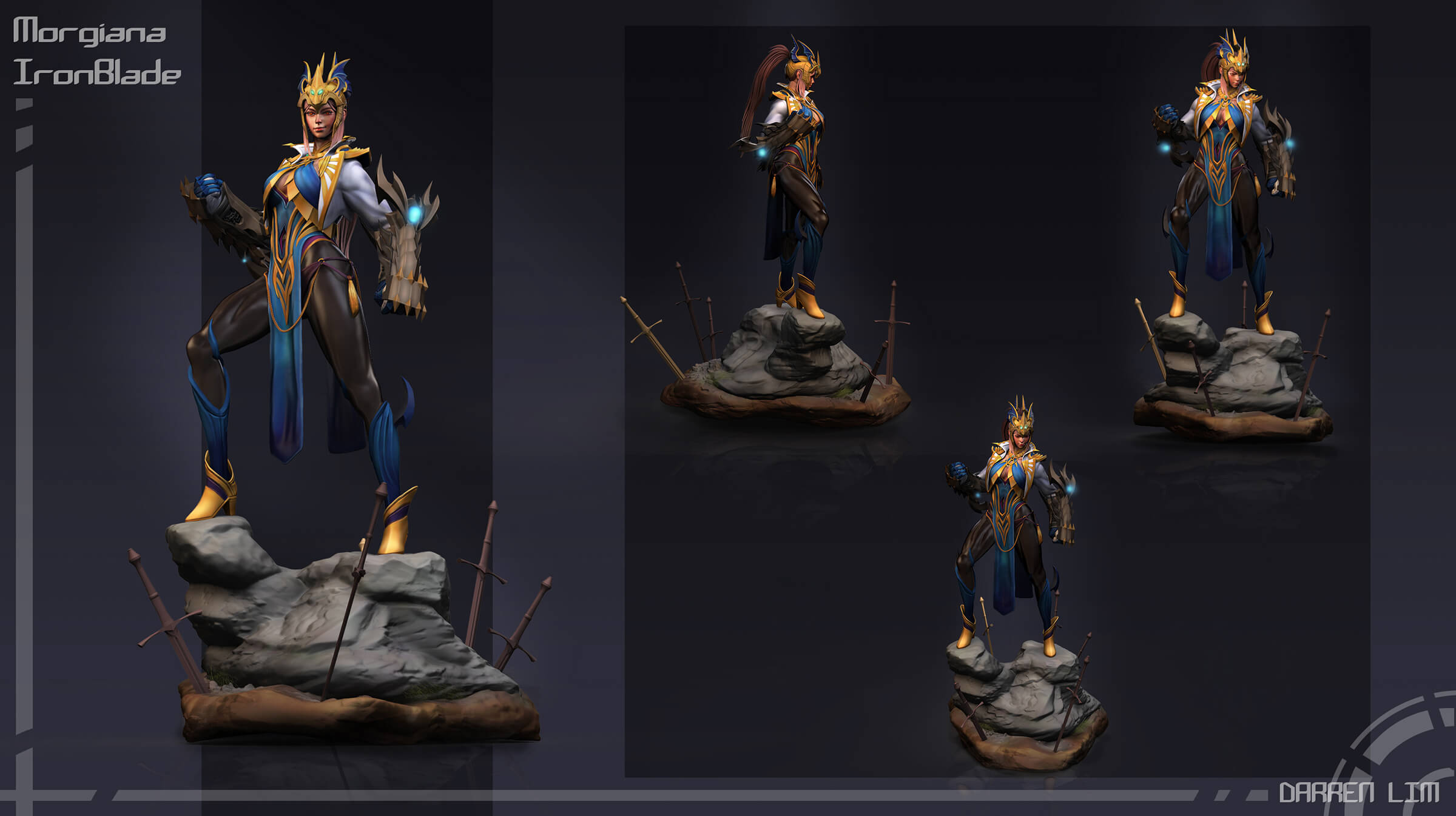 Multiple views of an elaborately costumed woman standing on a rock