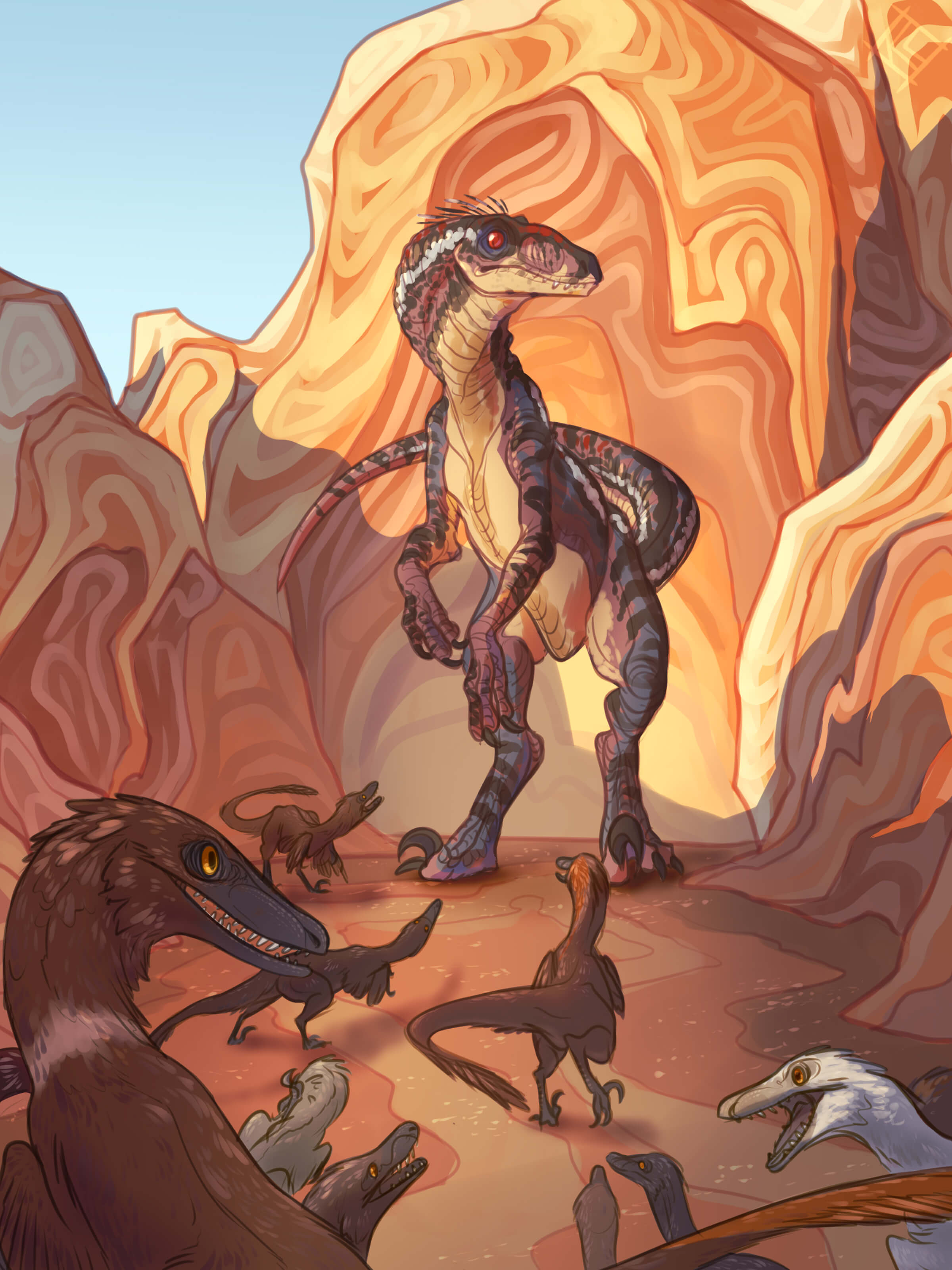 digital painting of dinosaurs surrounded by large orange-tinted rocks