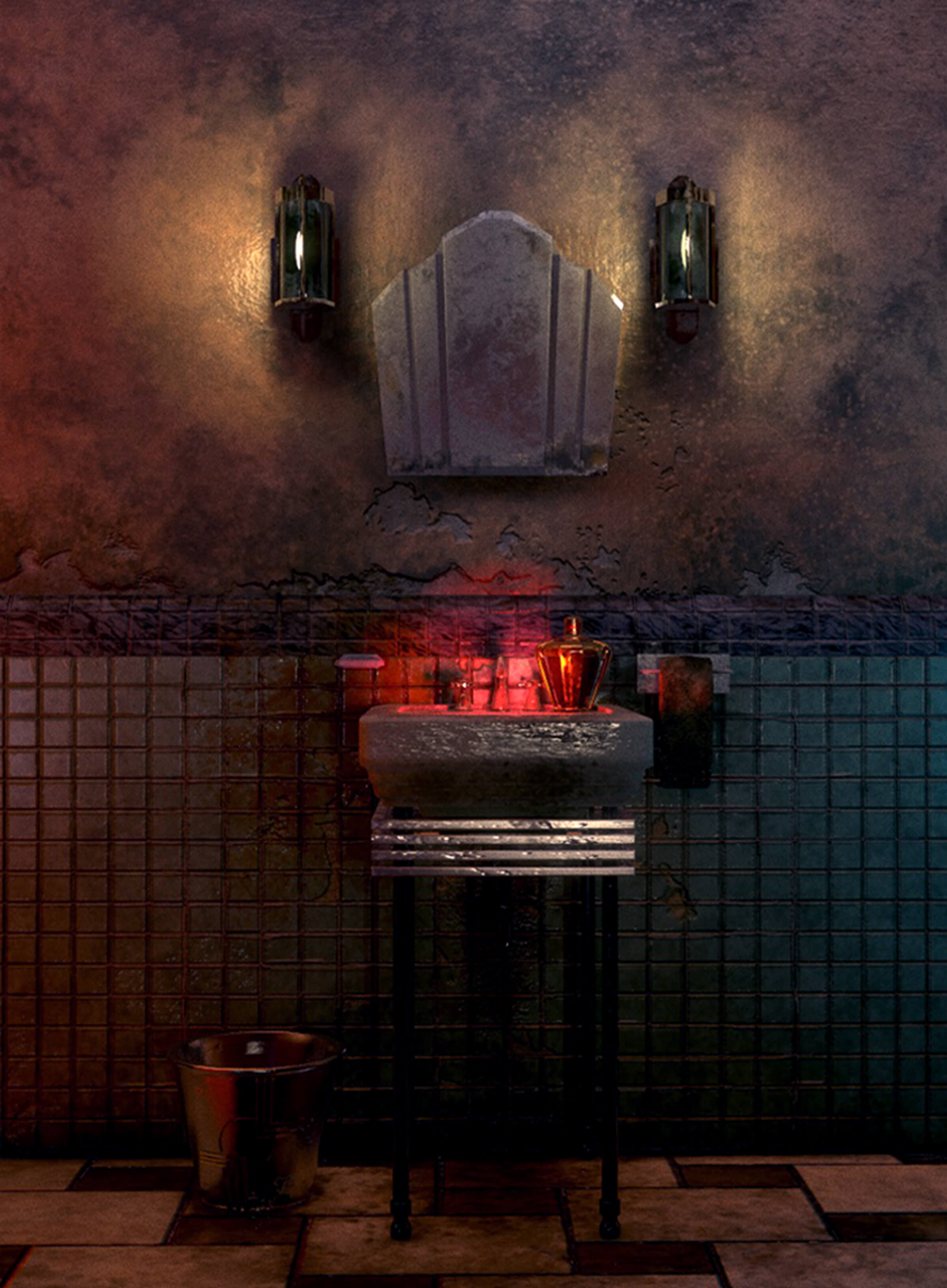 computer-generated 3D environment painting of a pedestal sink and trash can in an old dark bathroom