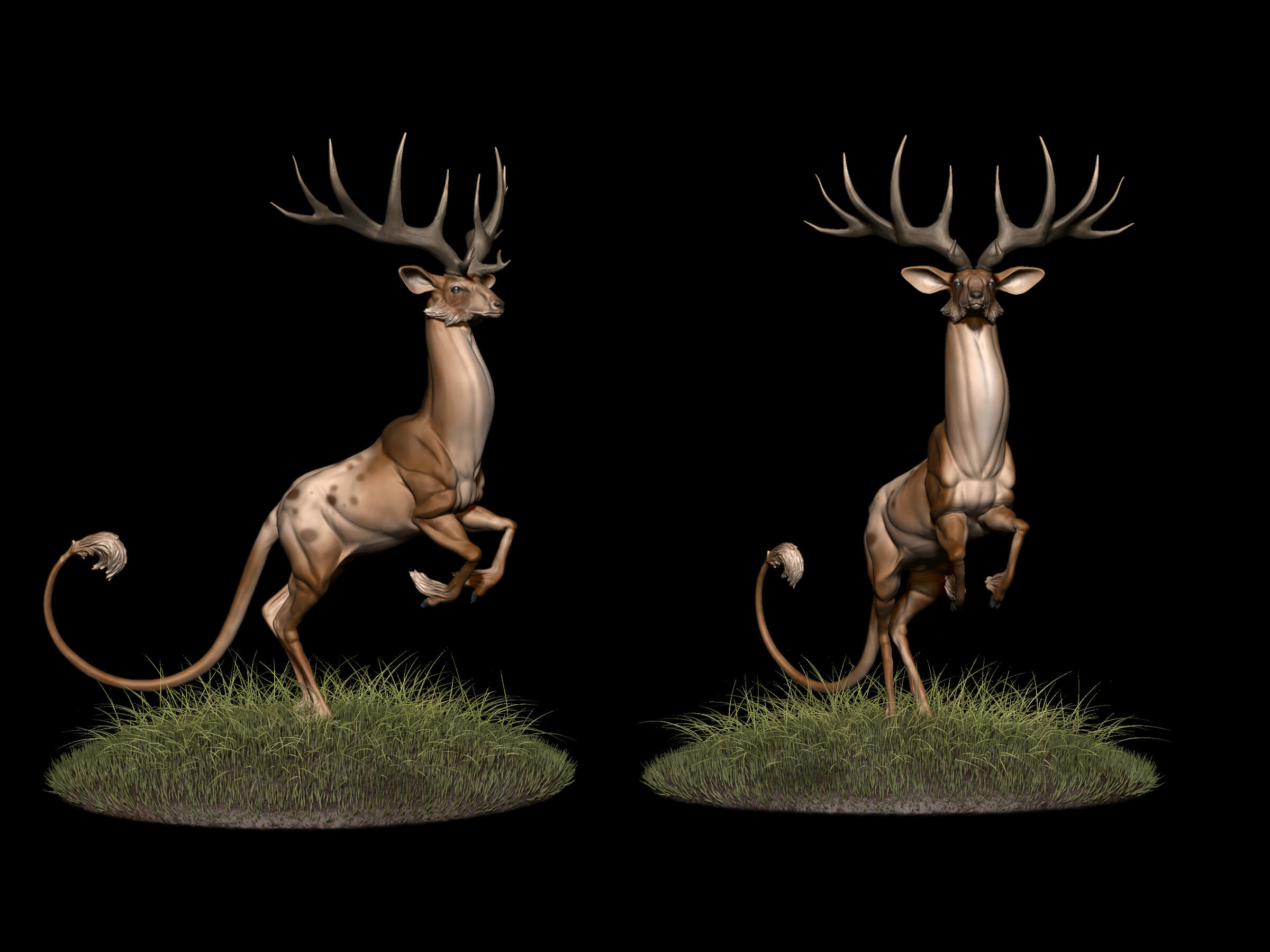 computer-generated 3d model of a deer-like creature on its hind legs
