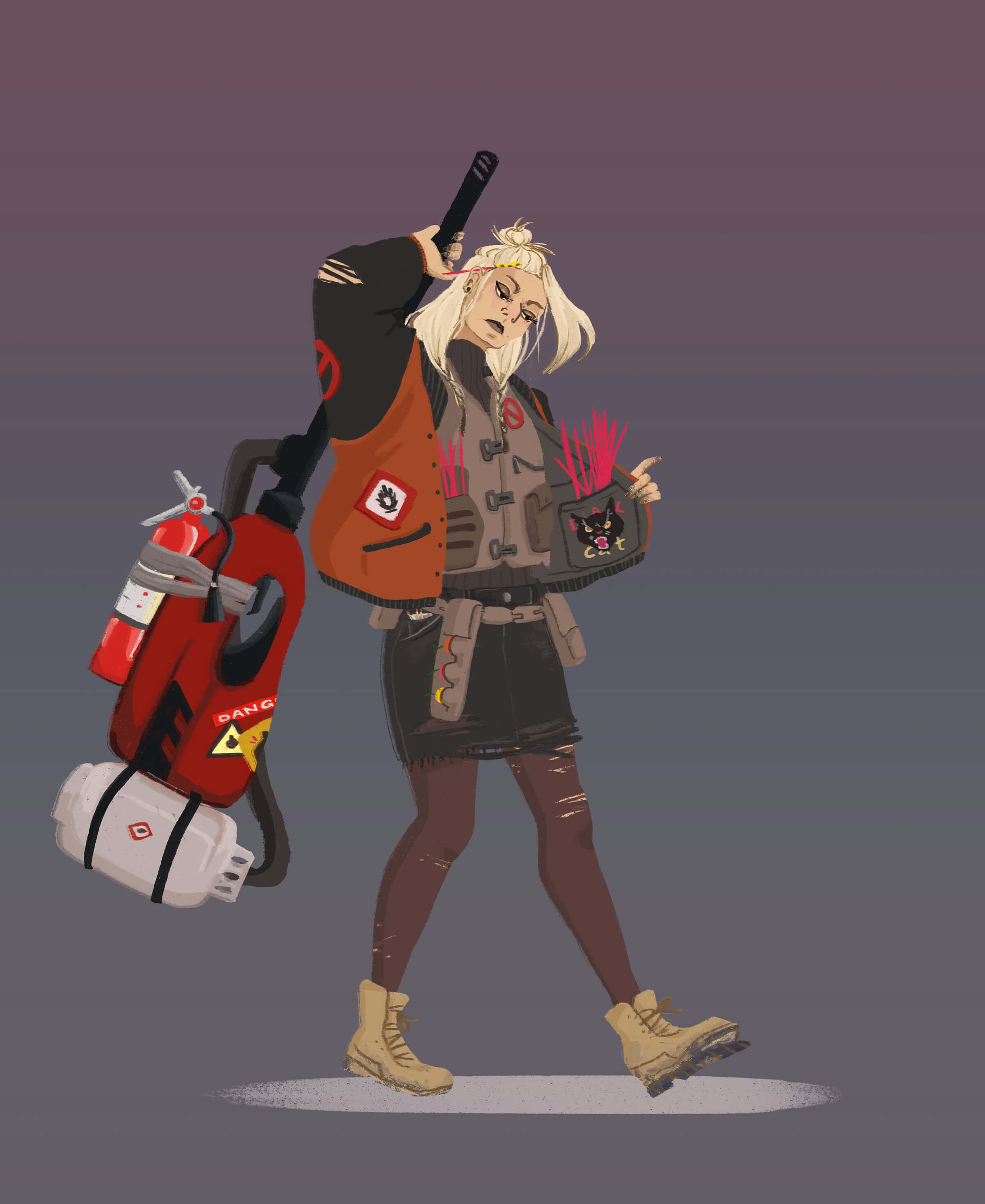 A blonde woman wearing and carrying gear with danger symbols attached