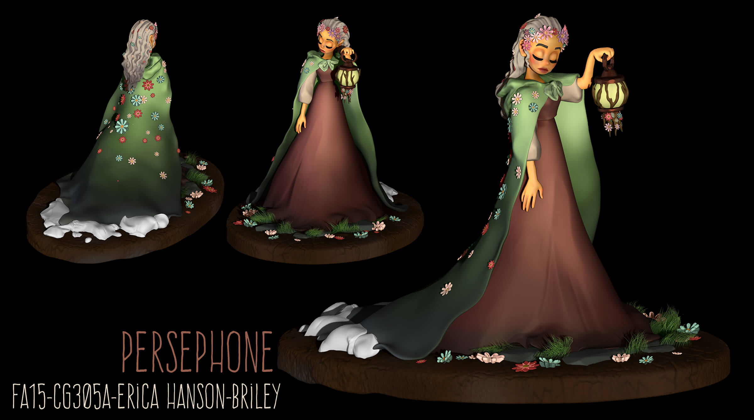 computer-generated 3D model of a female character in a long dress and cape adorned with flowers, holding a lantern
