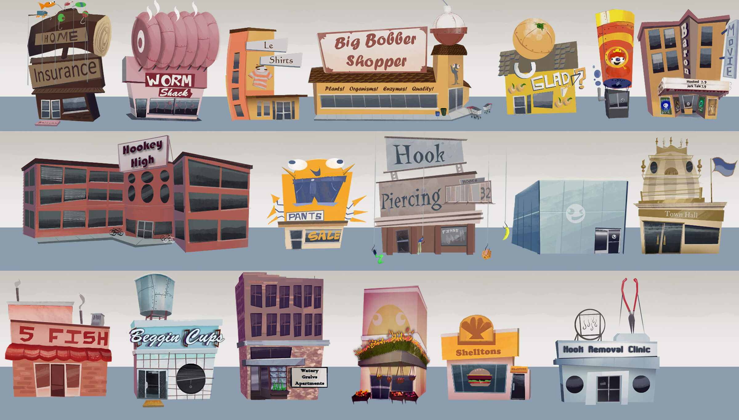 digital painting of various marine-themed buildings, including big bobber shopper and worm shack