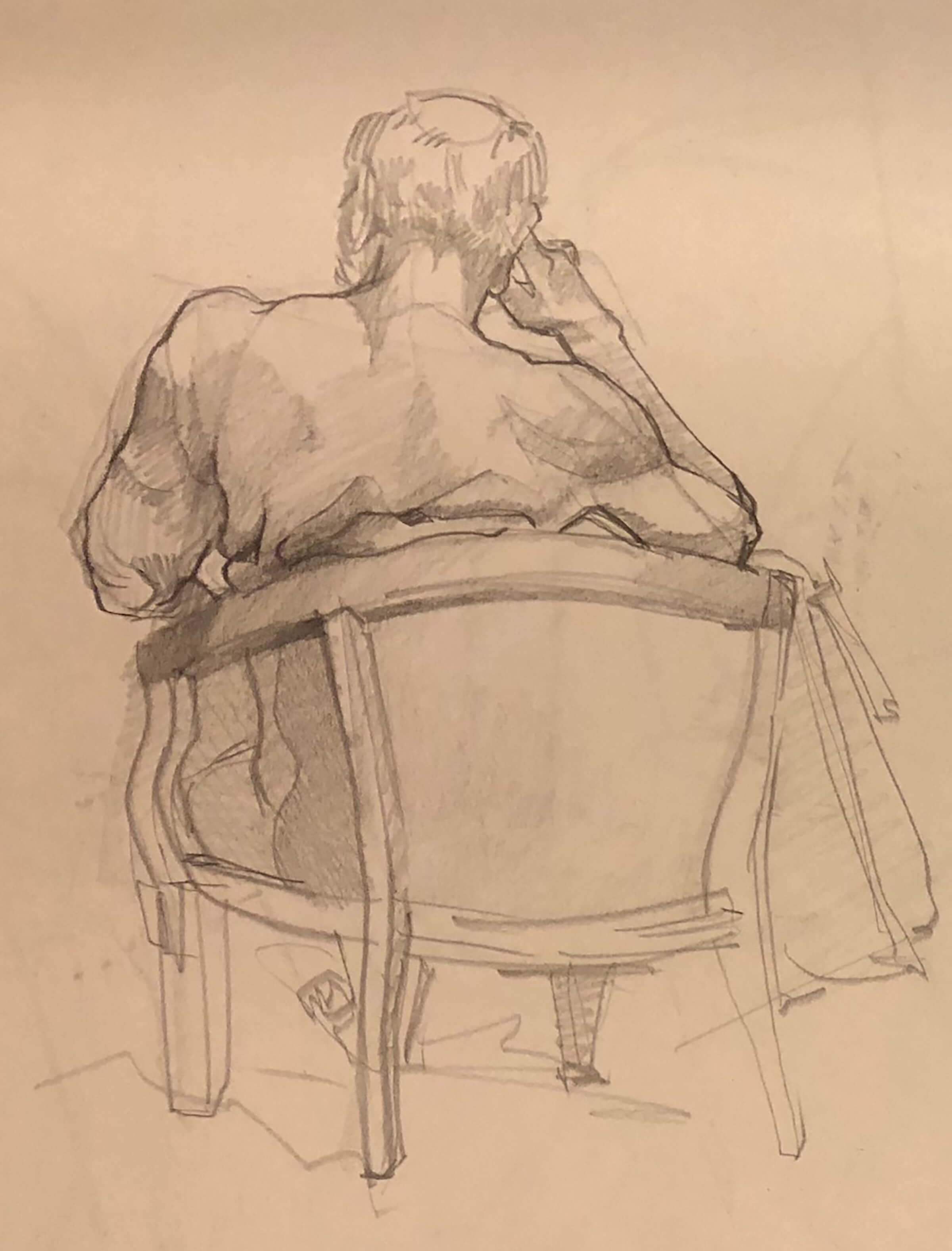 A sketch of a man sitting in a chair, his hand to his head