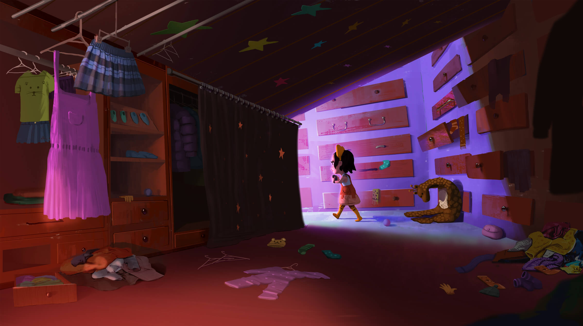 digital painting of a little girl walking out of a large, messy closet with clothes on the floor