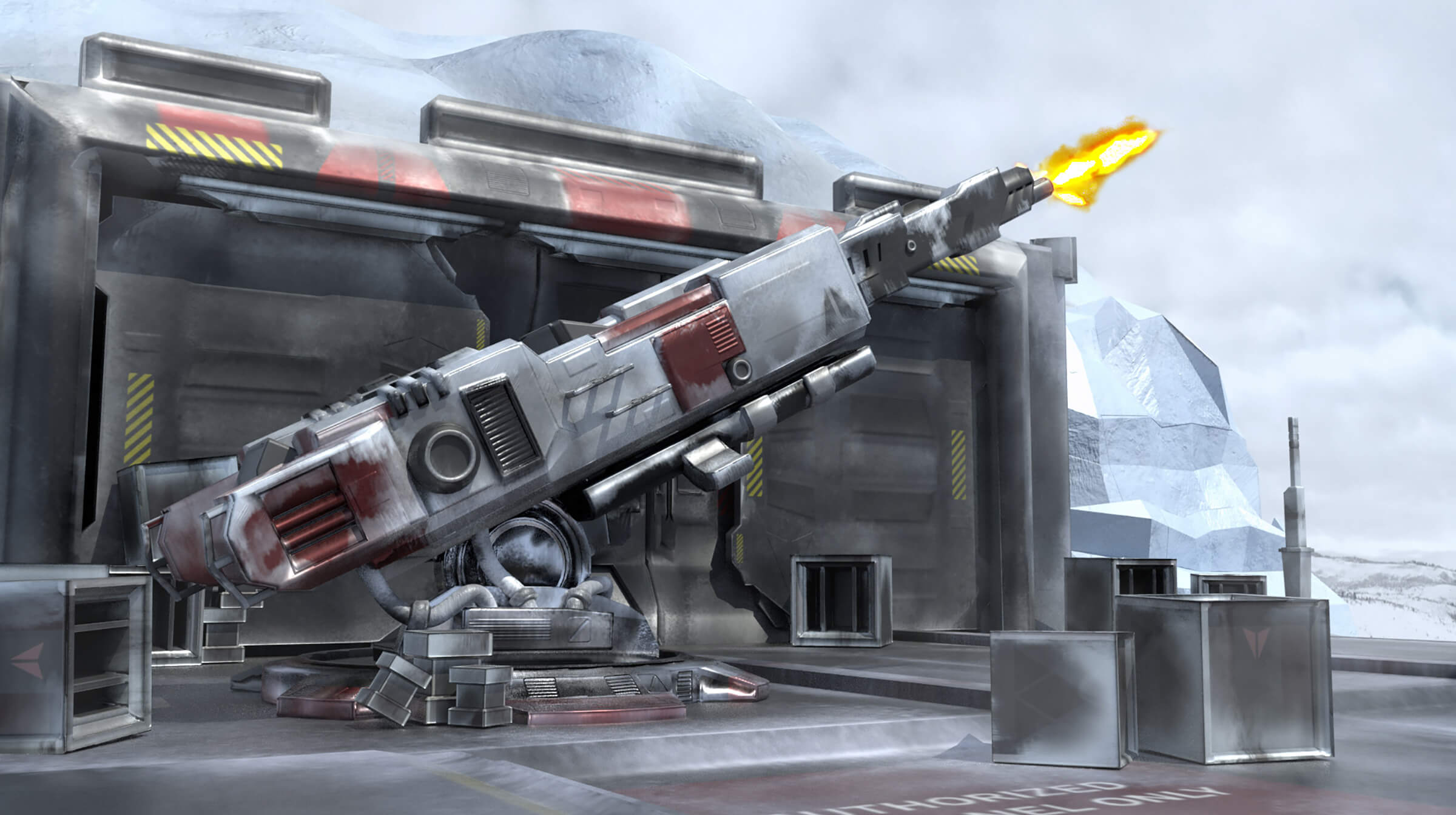 A large weapon fires into a wintry sky