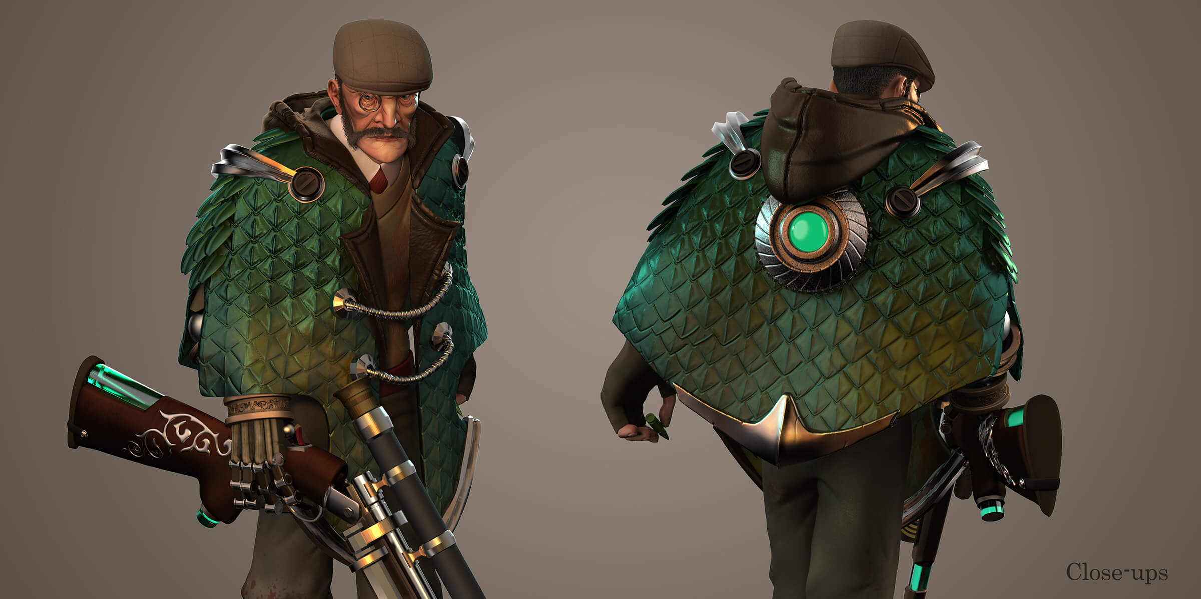 Close-up of a traditionally dressed man with a futuristic cape and gun