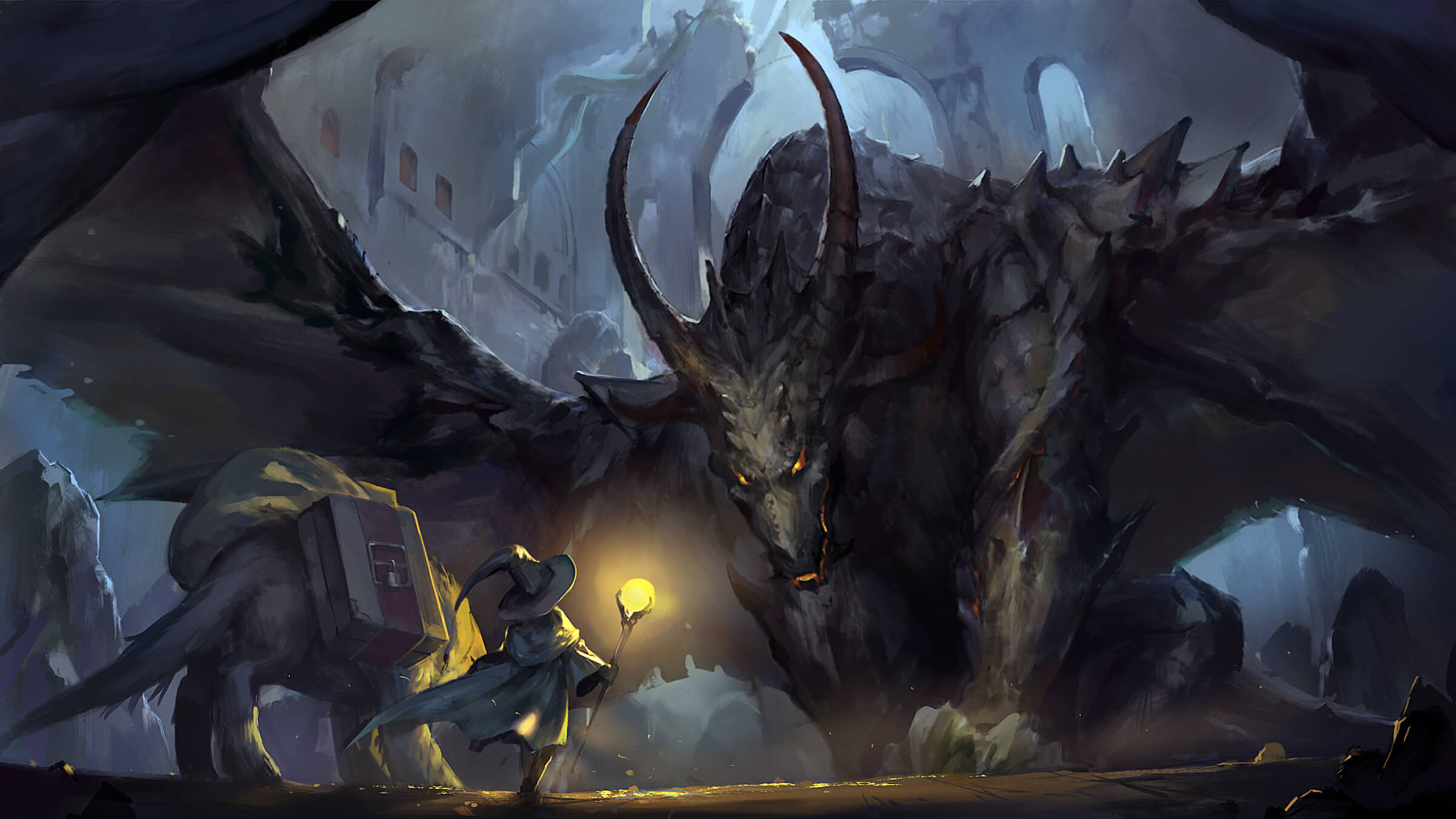 digital painting of a character in a witch hat and a dog-like creature facing an enormous, threatening dragon