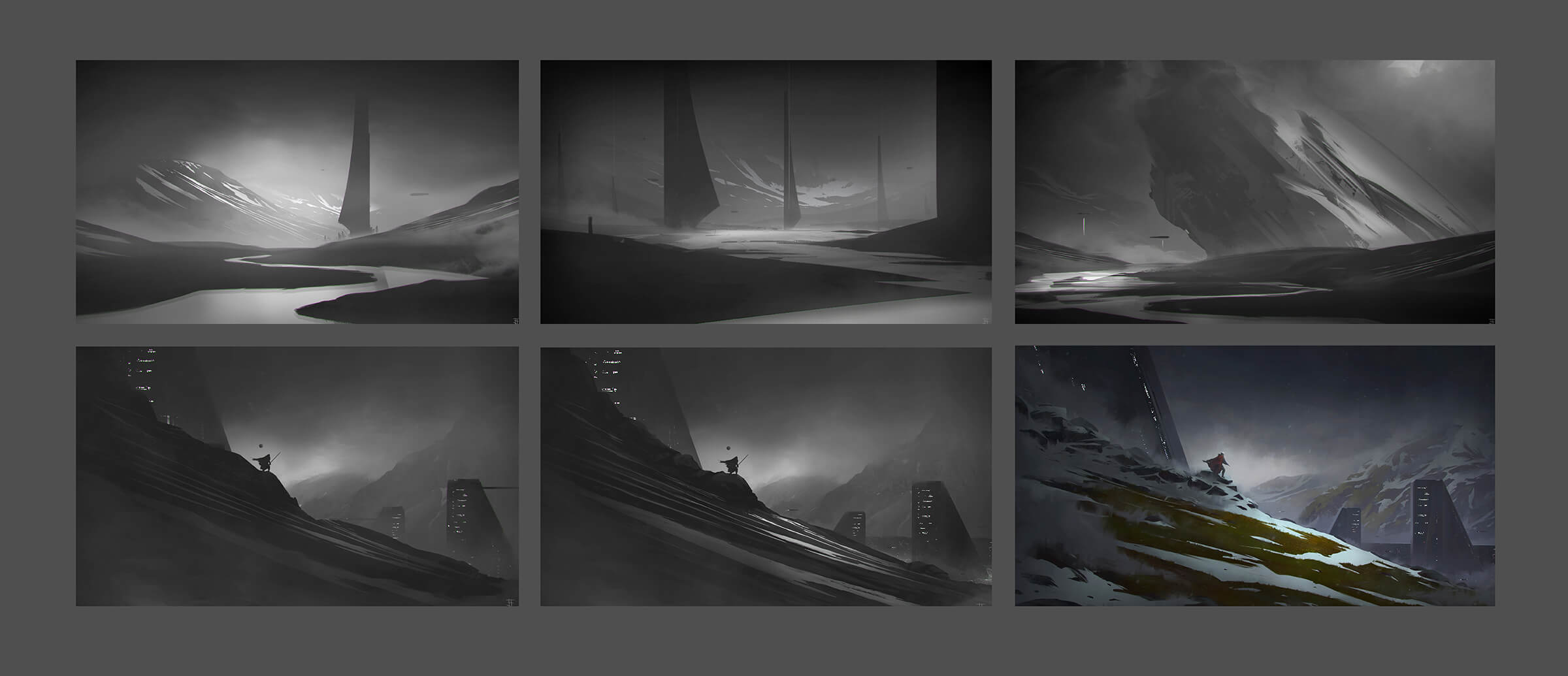6 digital paintings of dark landscapes, the last of which features green grass, snow and lighted buildings