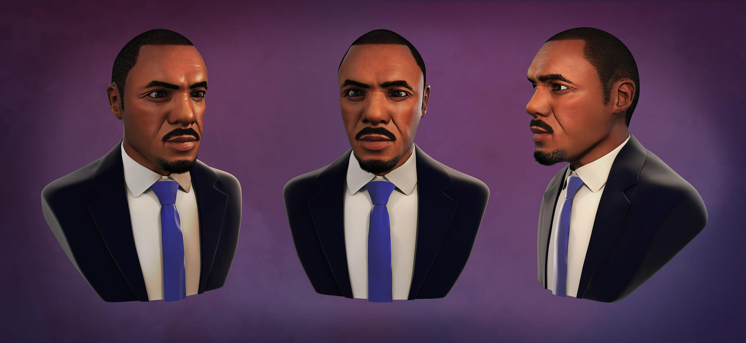 Three angles of a man wearing a jacket and tie