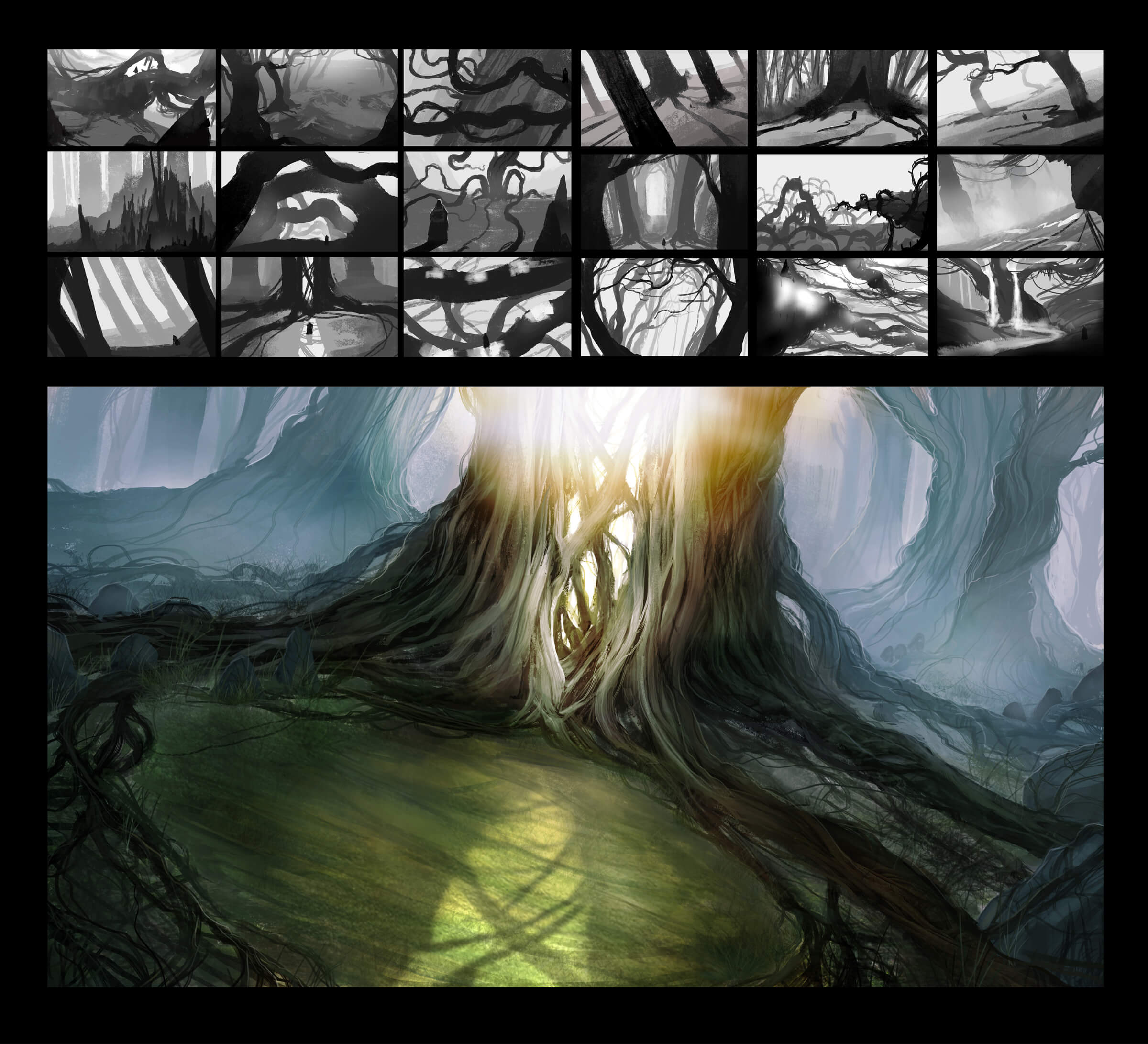 19 digital paintings of forest scenes, the largest of which shows sun shining through gnarled vines