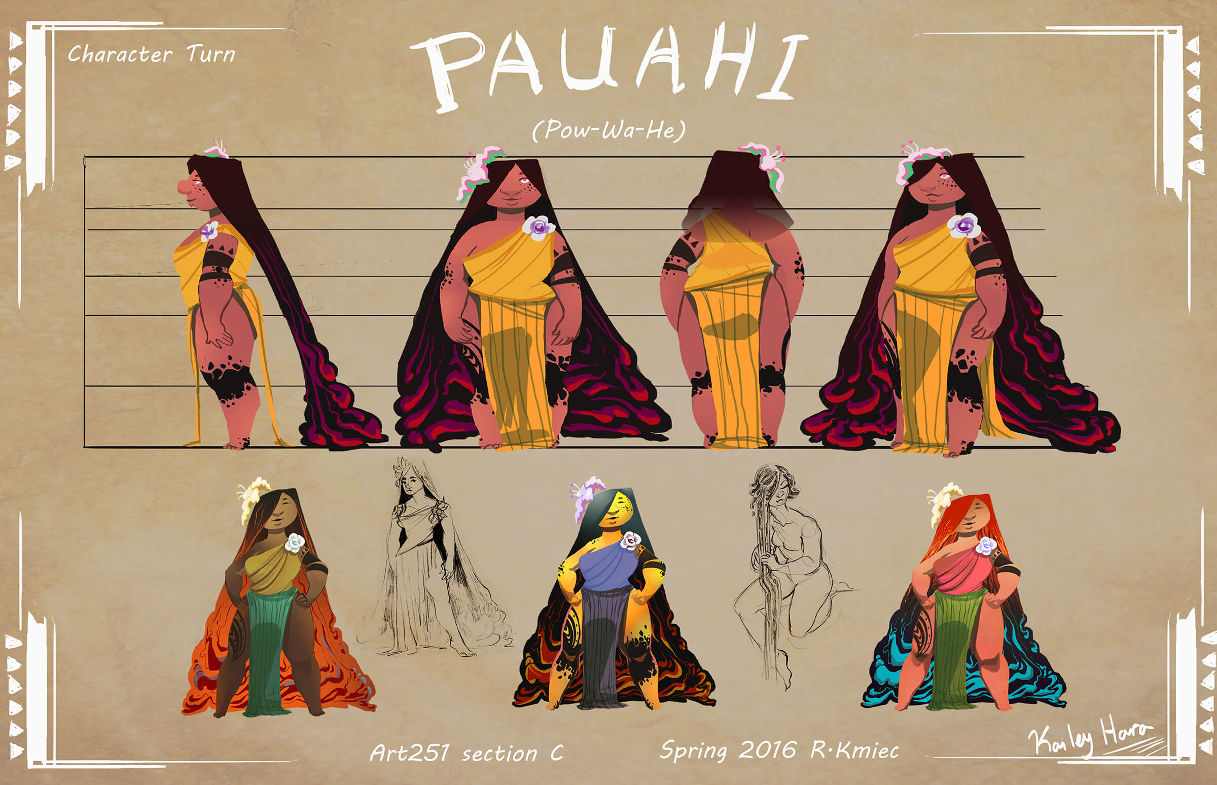 digital painting of a female character named pauahi with floor-length hair, wearing a toga-like dress