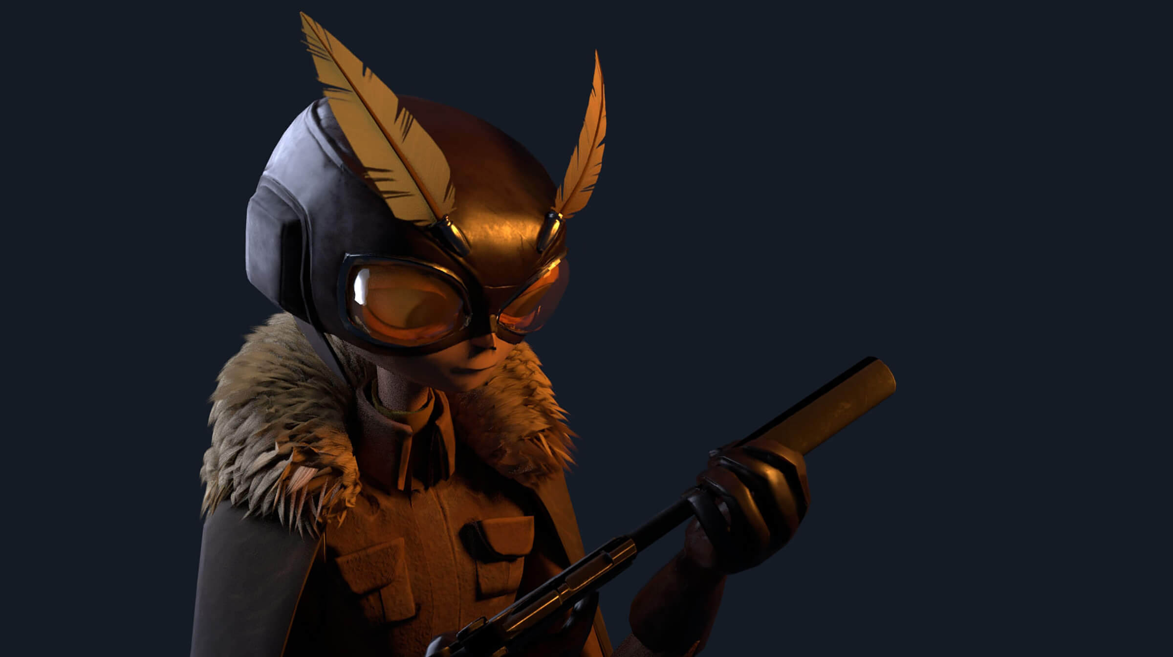 Close-up of a character in goggles with two feathers carrying a gun
