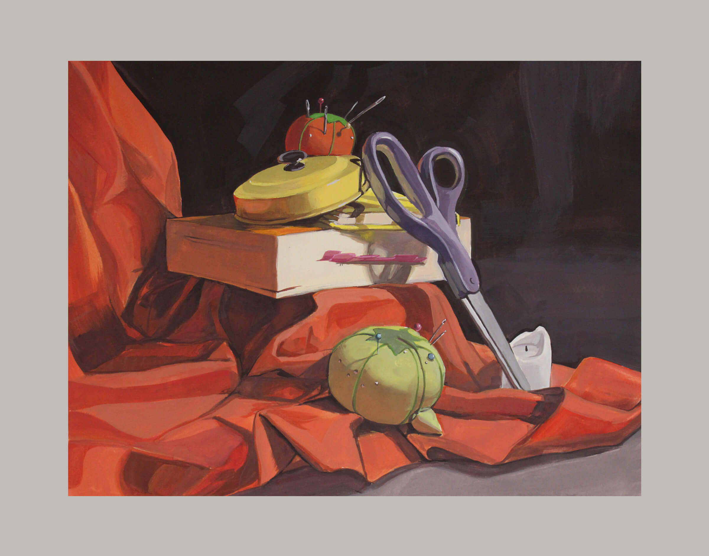 still-life traditional painting of pin cushions, a pair of scissors, a pot lid, books, and a candle on a red draped sheet