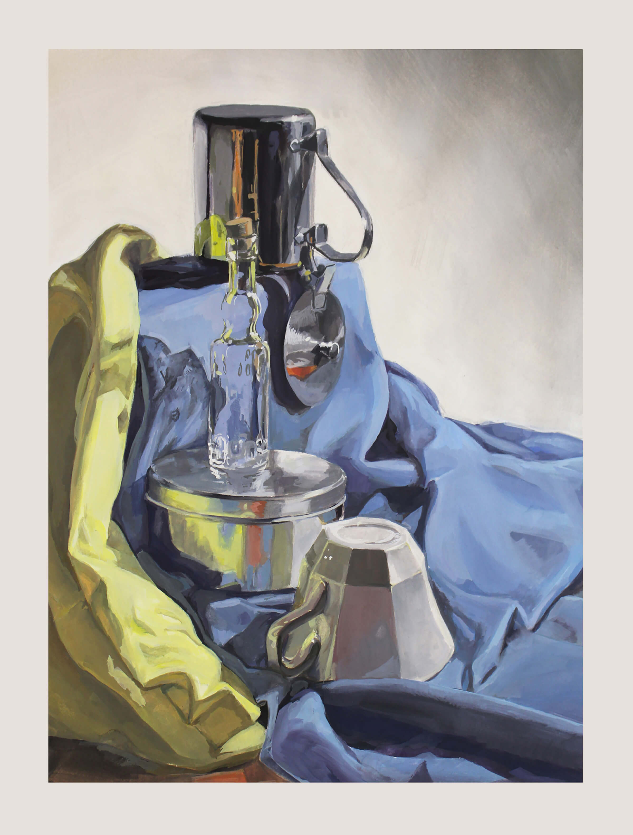 still-life traditional painting of a corked bottle, a tea cup, and aluminum pots on a blue draped sheet