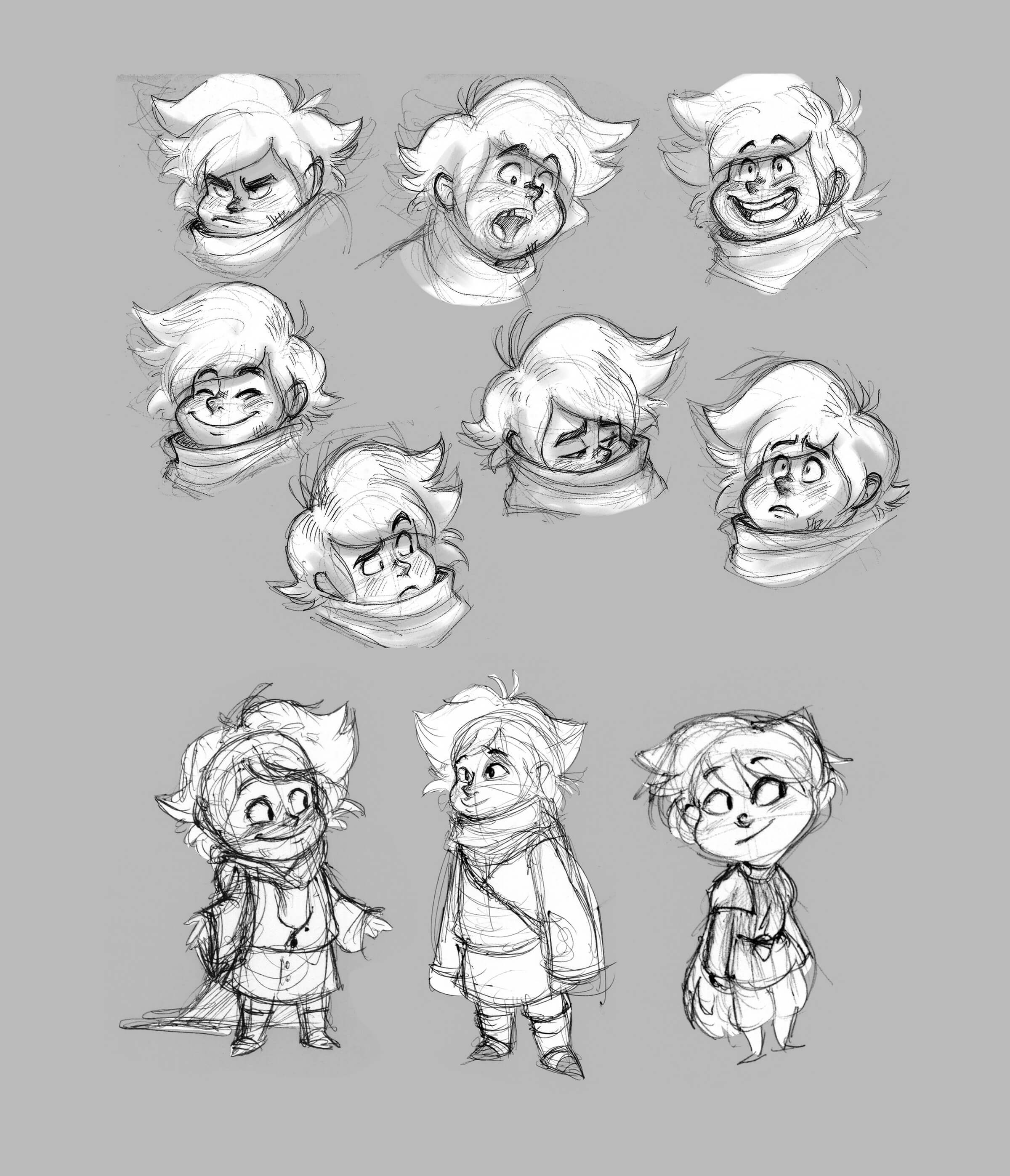 Various facial expressions of a turtlenecked character with wild hair