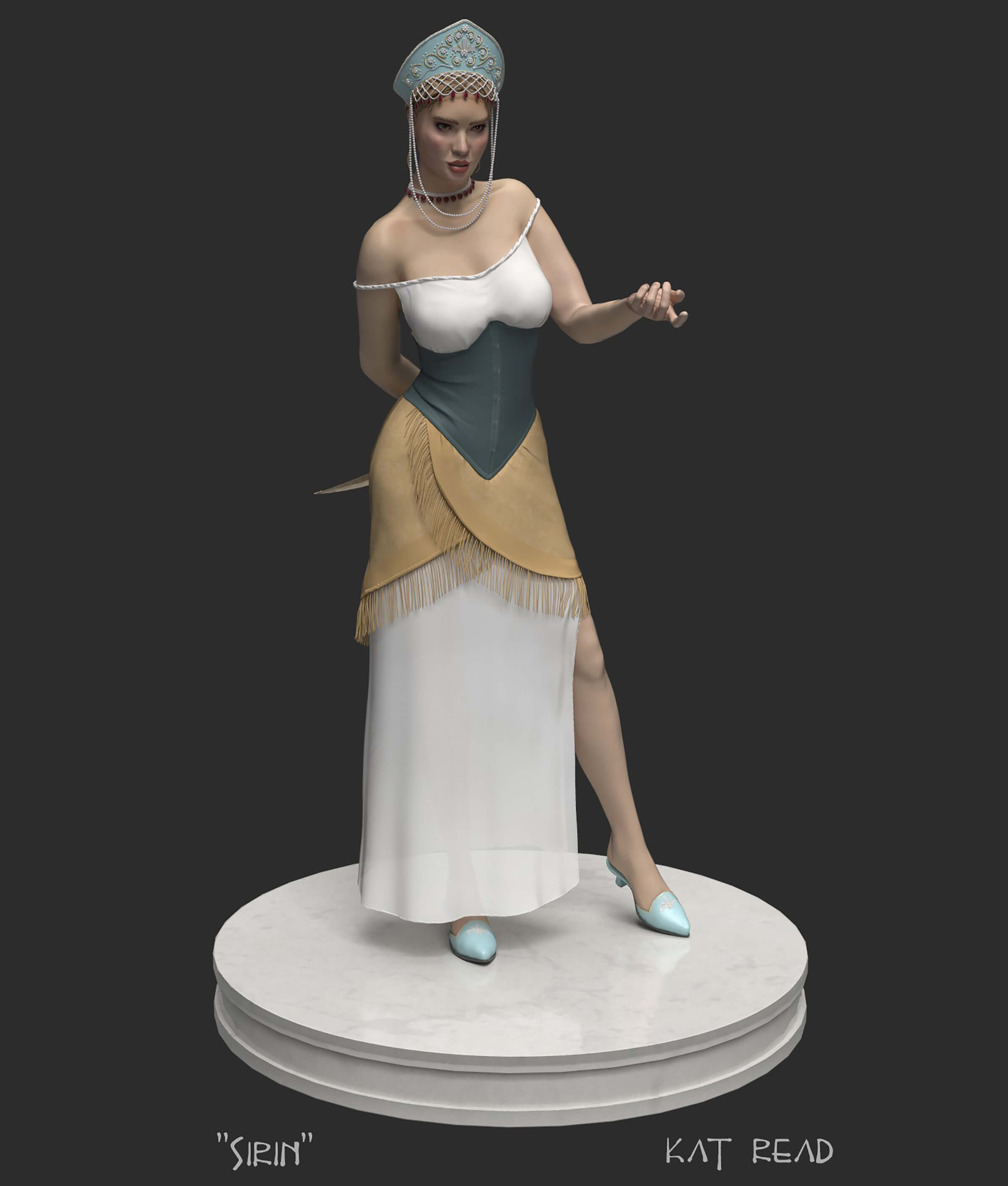 computer-generated 3D model of a female character named sirin on a marble pedestal