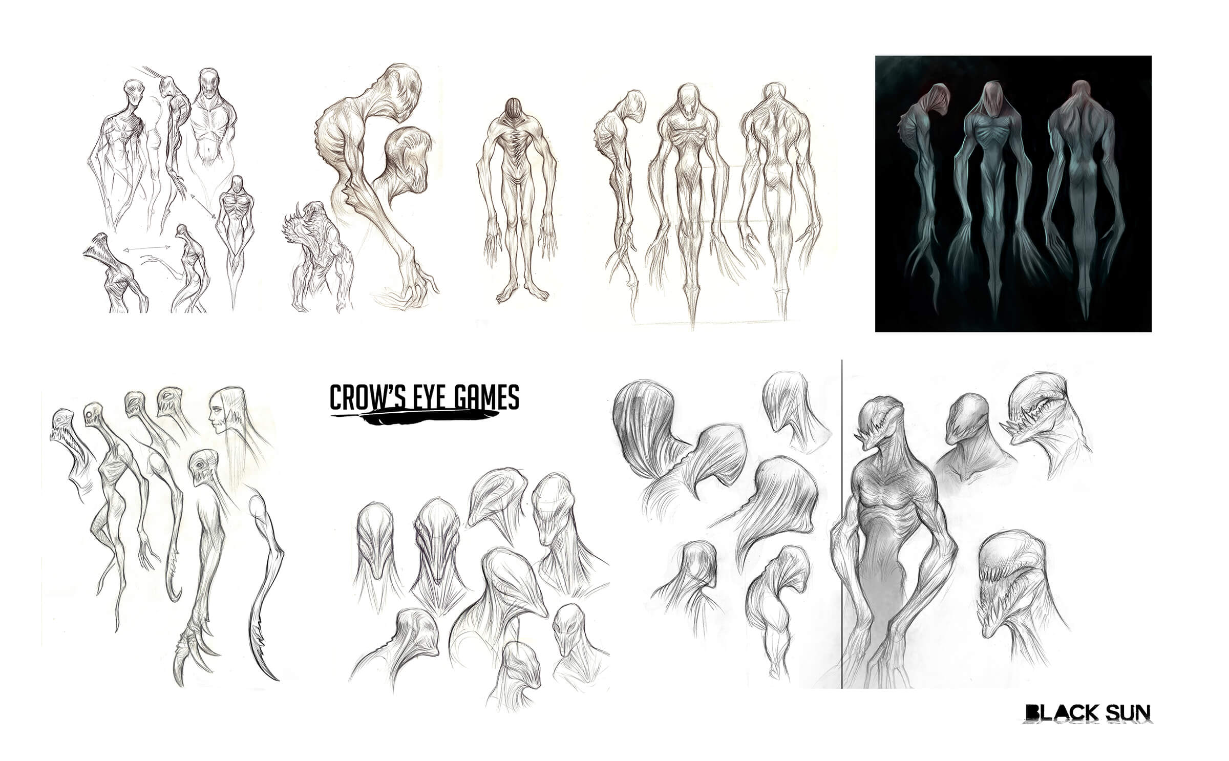digital paintings of a skeletal game character with incredibly long arms, sharp teeth, and in some views, no eyes