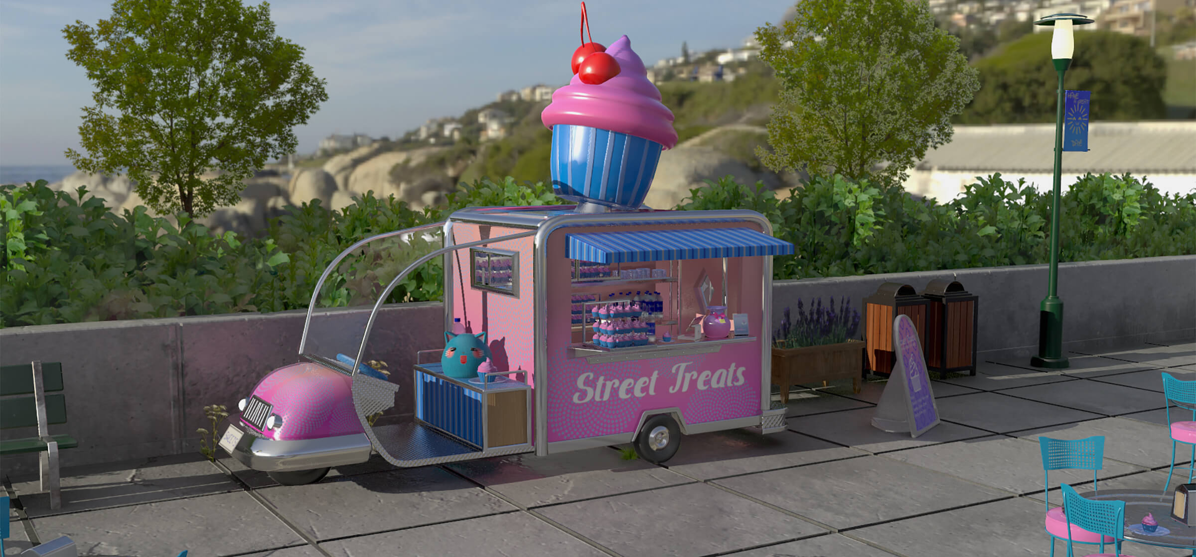 "A food truck called ""Street Treats"" with a giant cupcake on its roof"