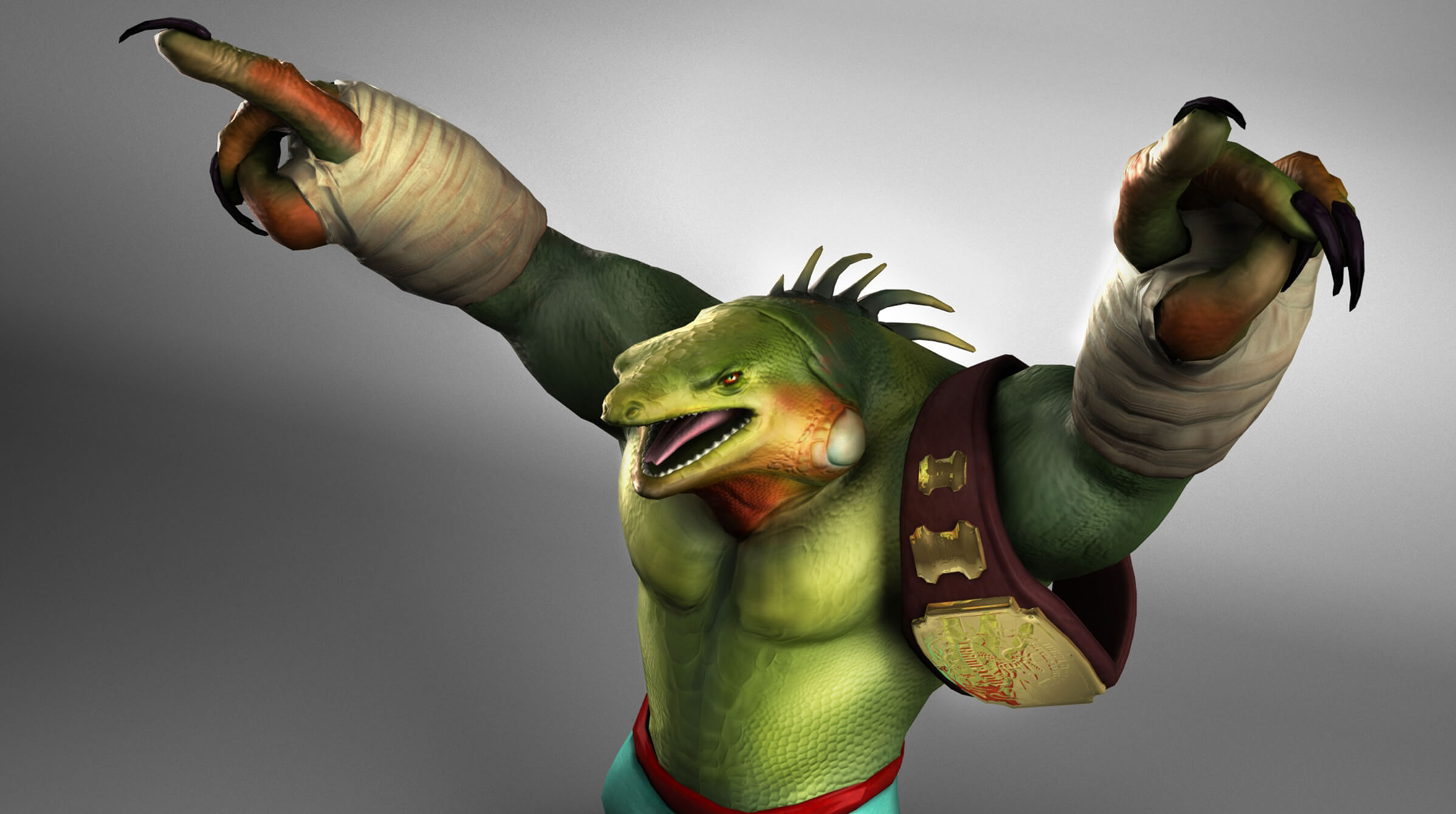 computer-generated 3D model of a muscular lizard with bandaged wrists and a championship belt slung around its shoulder