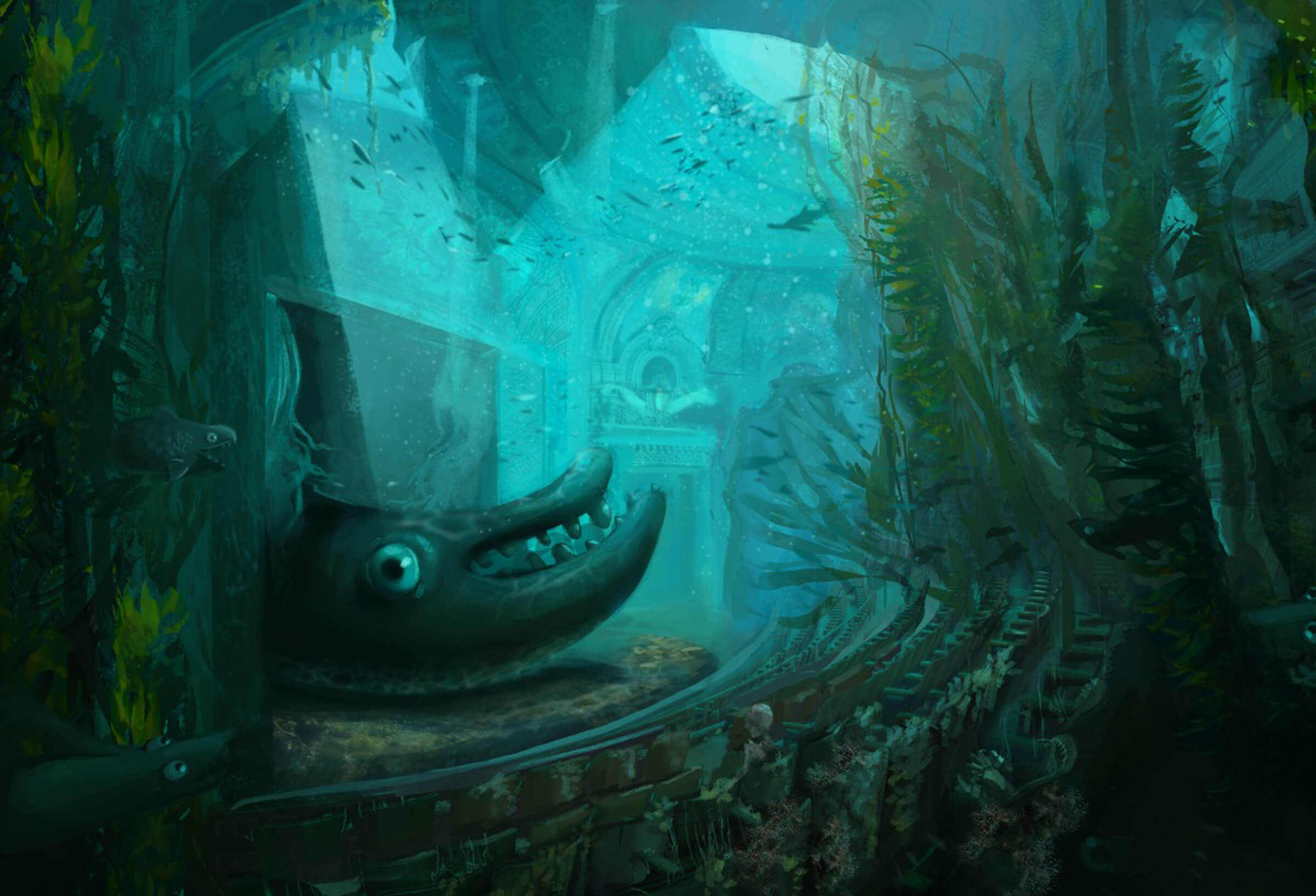 digital painting of an underwater theater with a large sea creature on stage