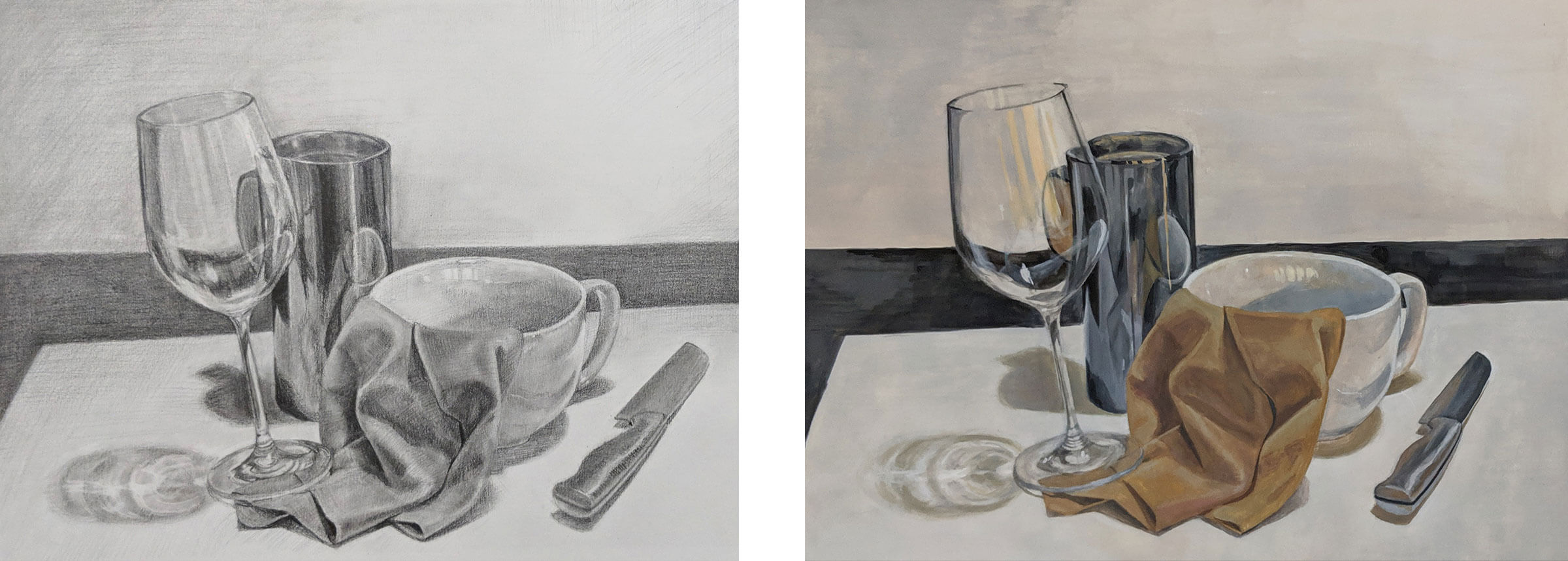 Still-life with wine glass, mugs, knife, and napkin