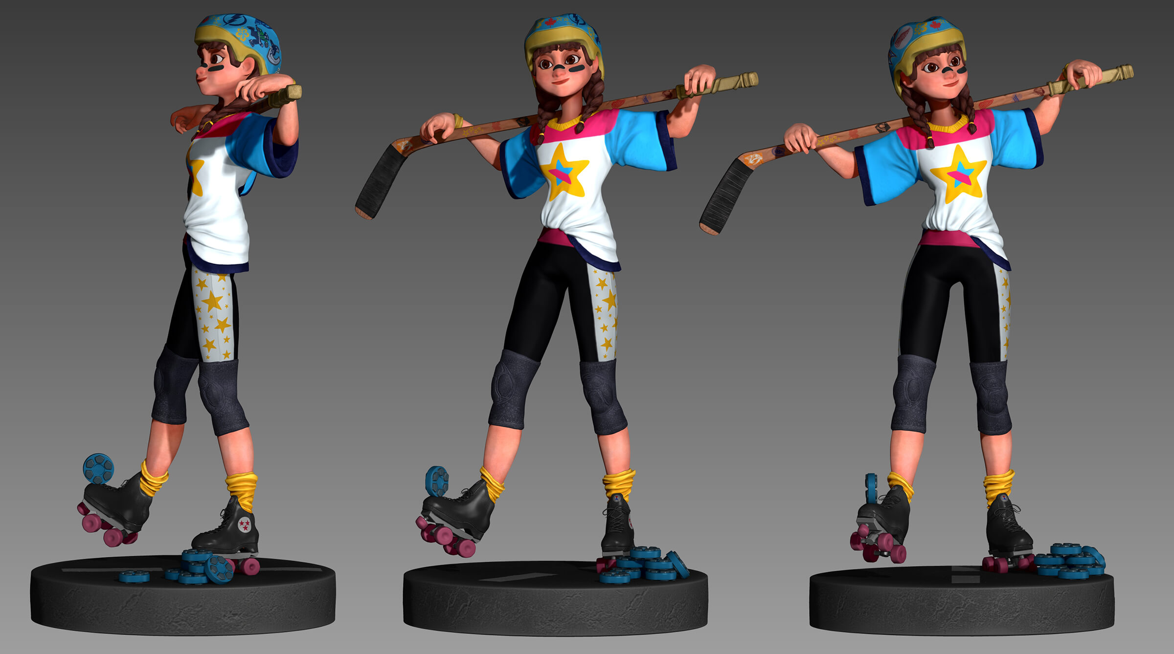 computer-generated 3D model of a girl with pig tails and a lacrosse stick wearing a helmet and roller skates
