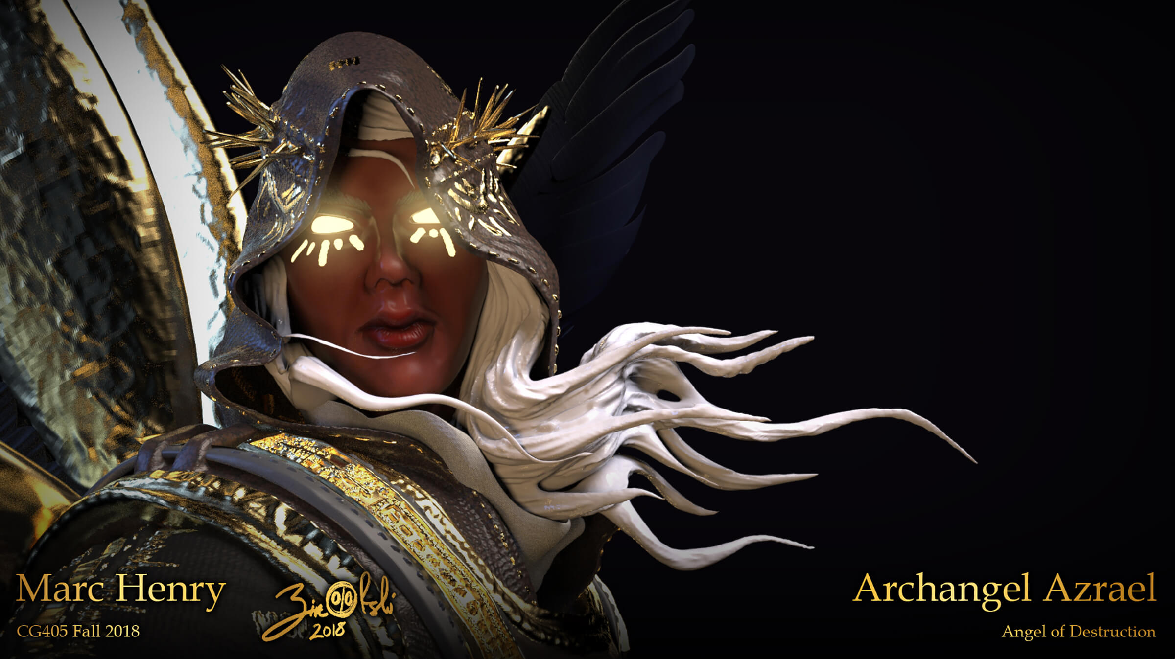 A character with glowing gold eyes, a dark spiked hood, and white hair