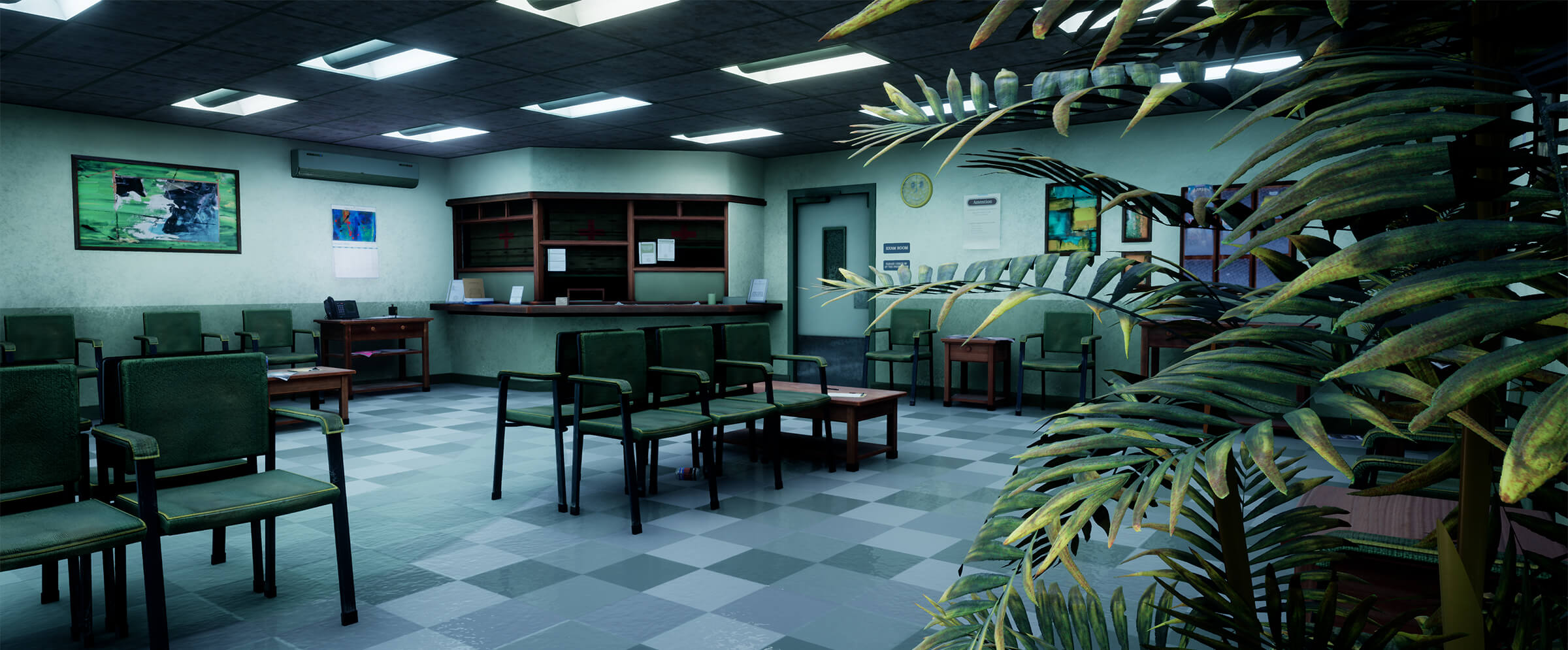 An empty waiting room with plants in the foreground