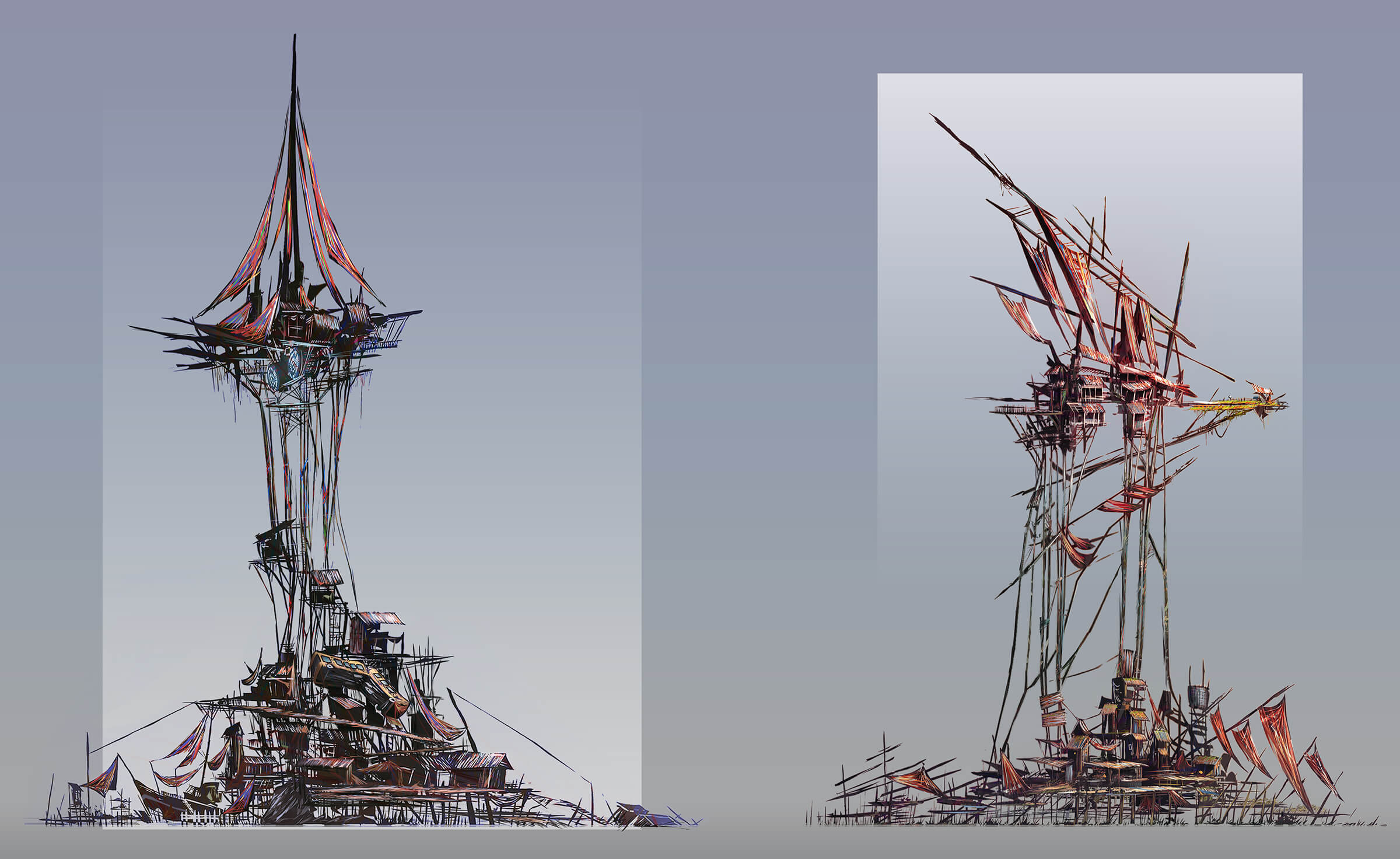 Buildings built on top of spindly branches attached to other buildings