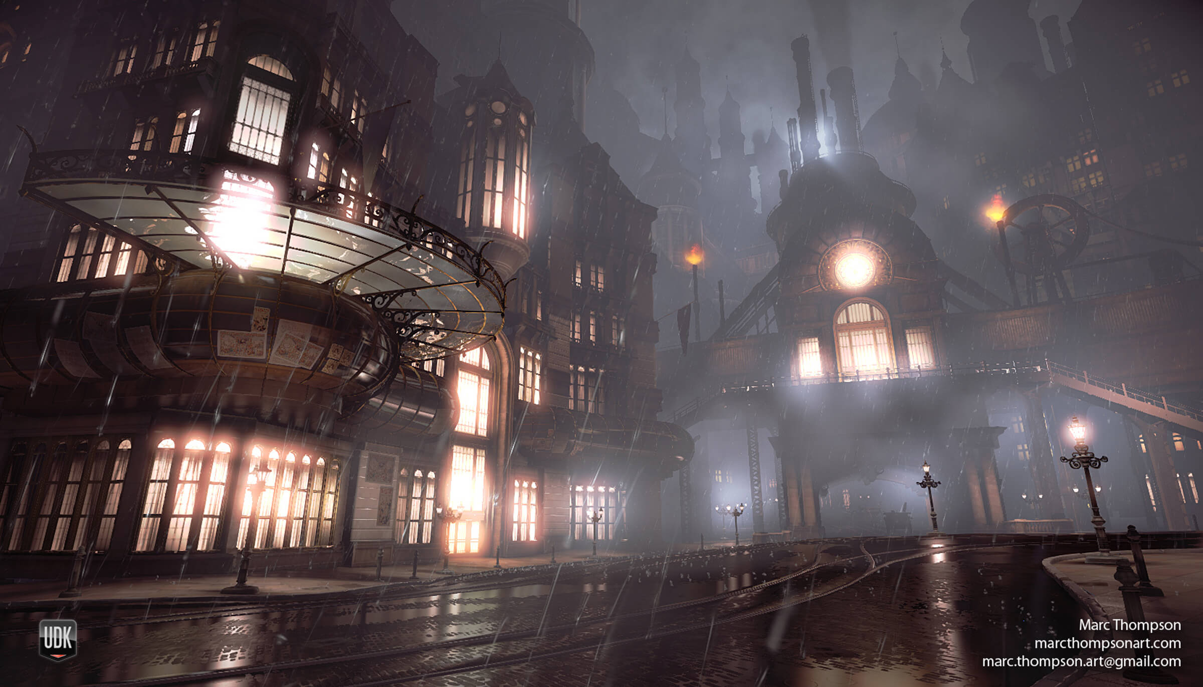 computer-generated 3D environment of lighted buildings on a rainy night